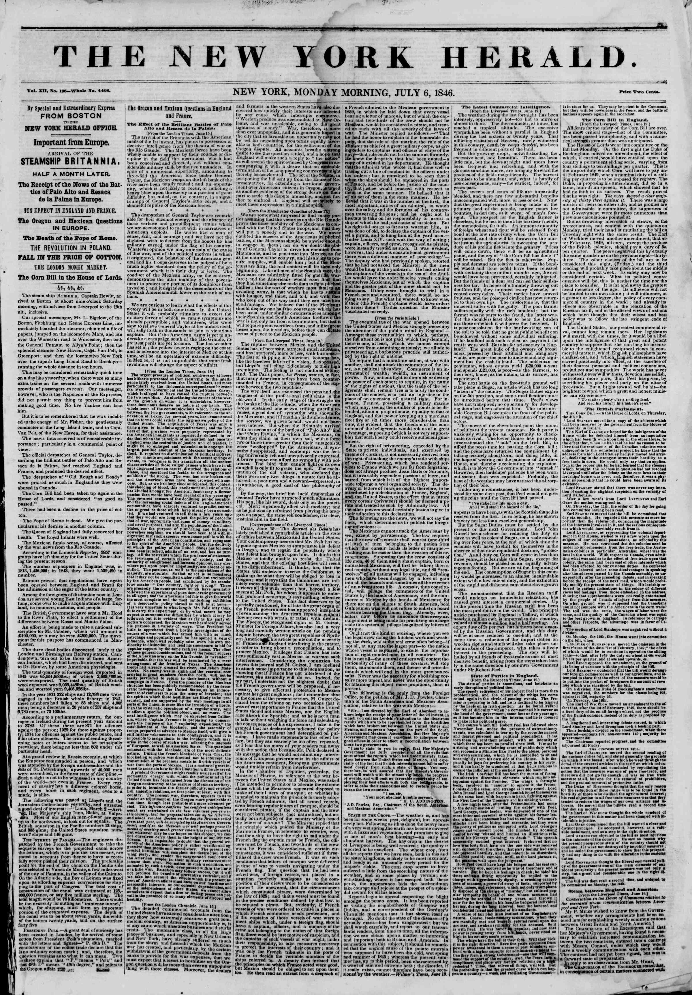 Newspaper of The New York Herald dated July 6, 1846 Page 1