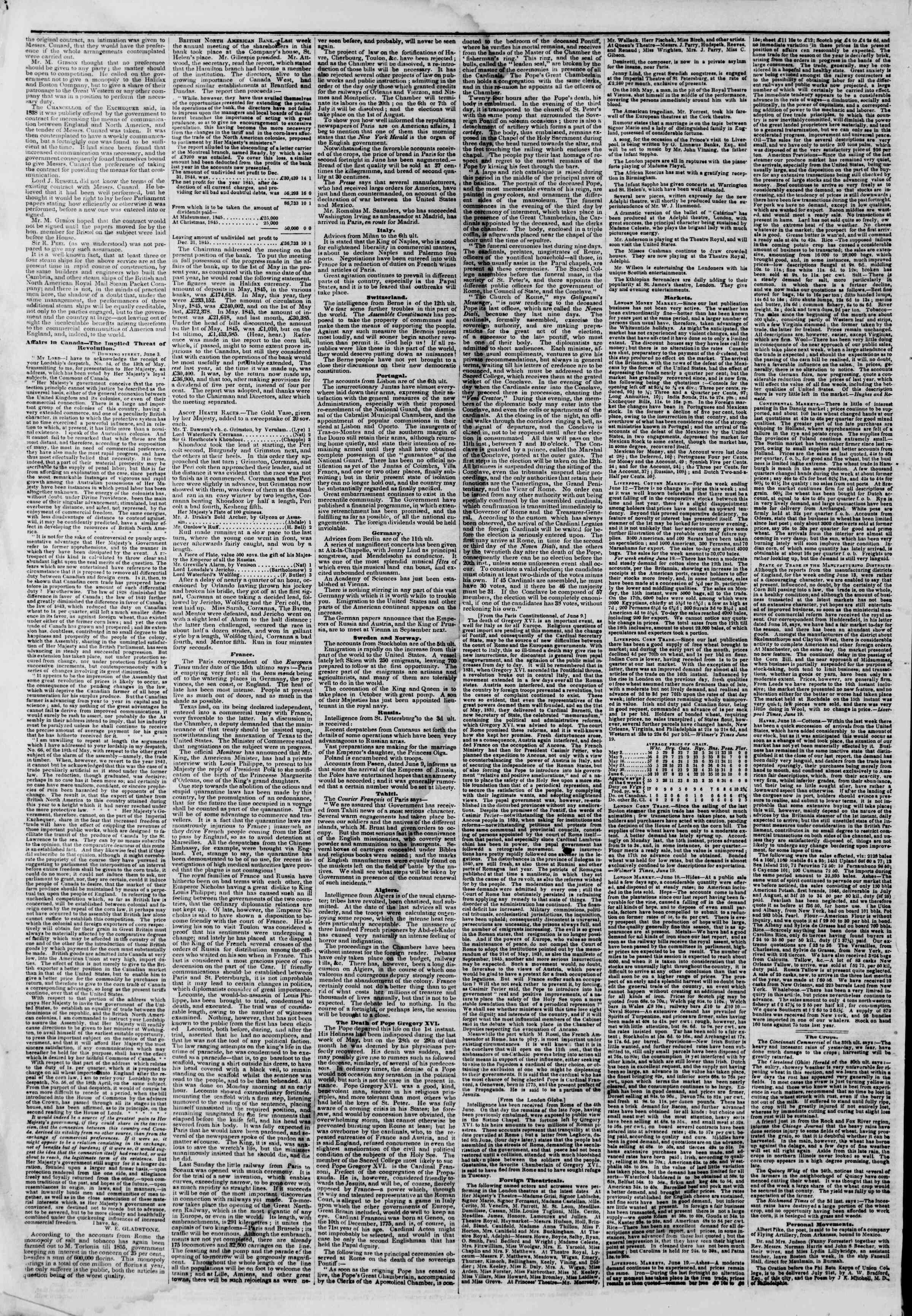 Newspaper of The New York Herald dated July 6, 1846 Page 2