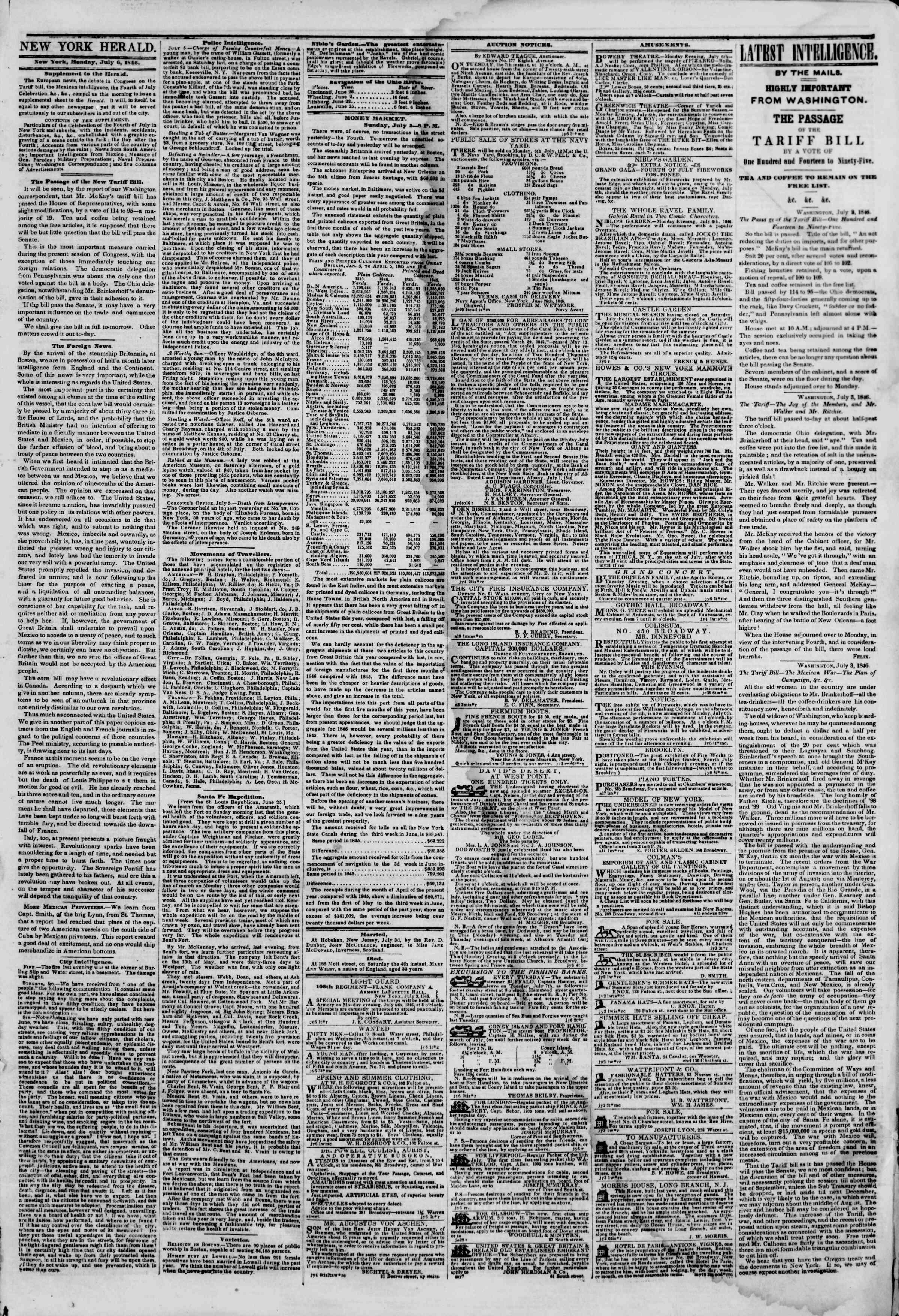 6 Temmuz 1846 tarihli The New York Herald Gazetesi Sayfa 3