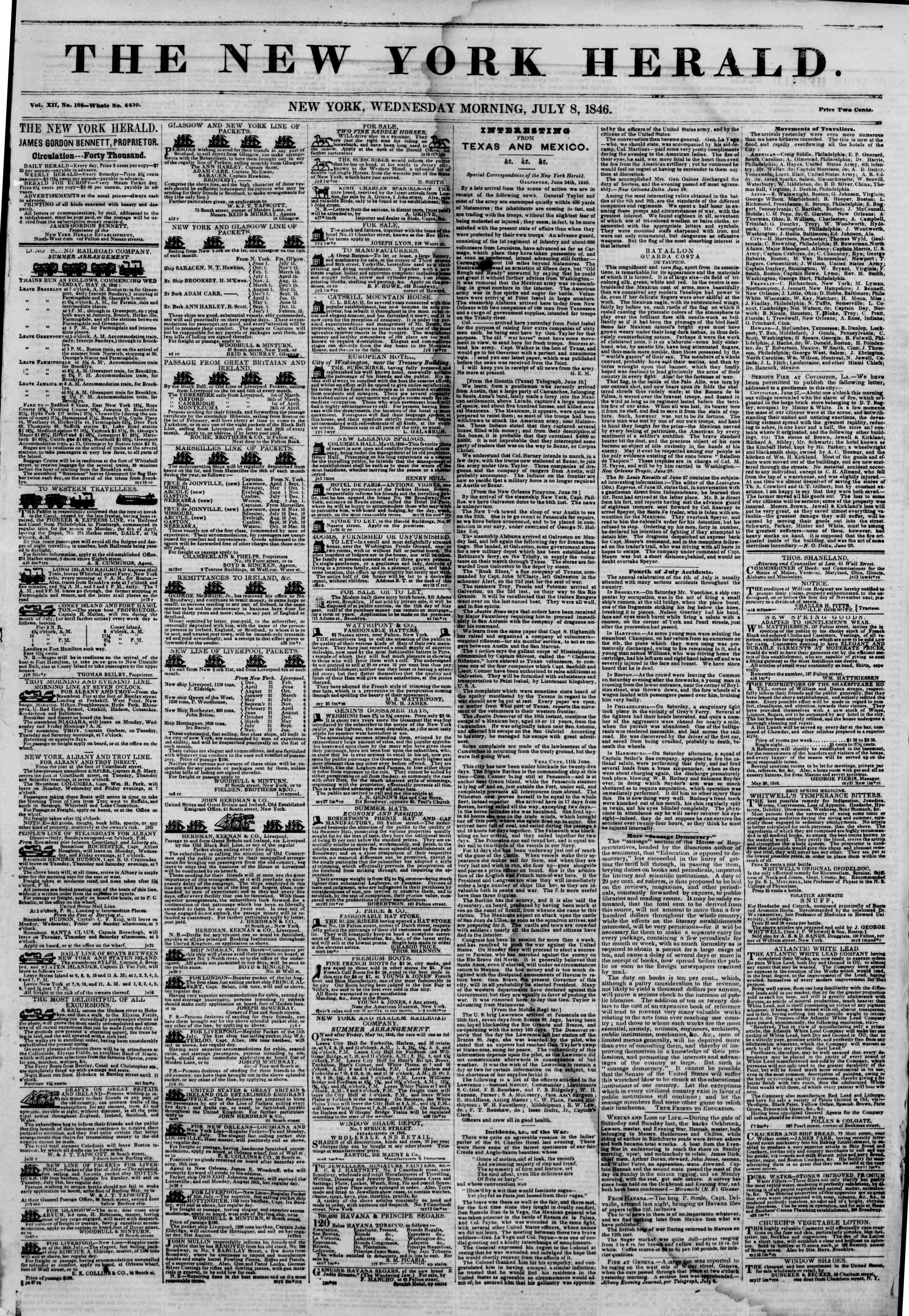 Newspaper of The New York Herald dated July 8, 1846 Page 1