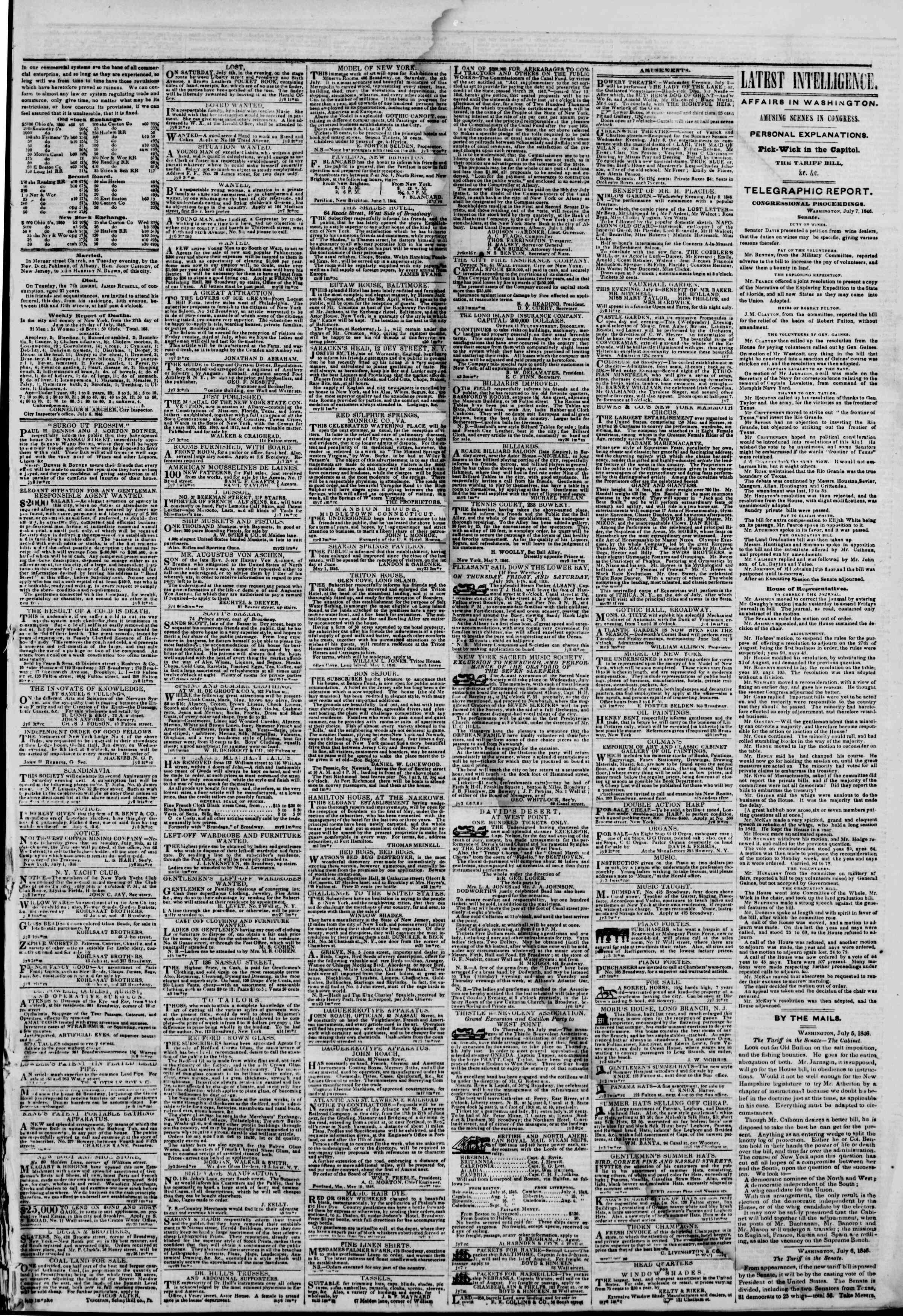 Newspaper of The New York Herald dated 8 Temmuz 1846 Page 3