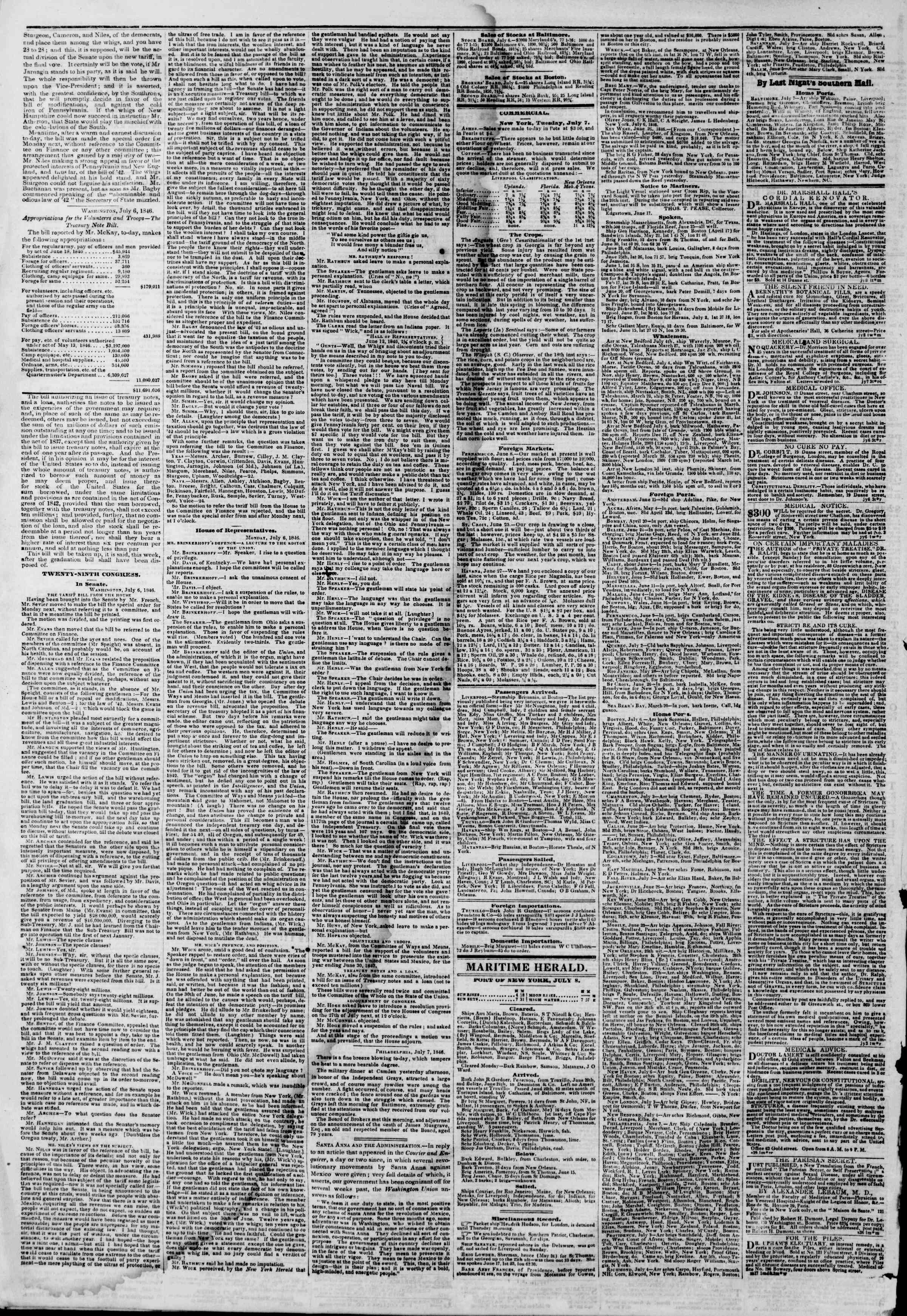 Newspaper of The New York Herald dated July 8, 1846 Page 4