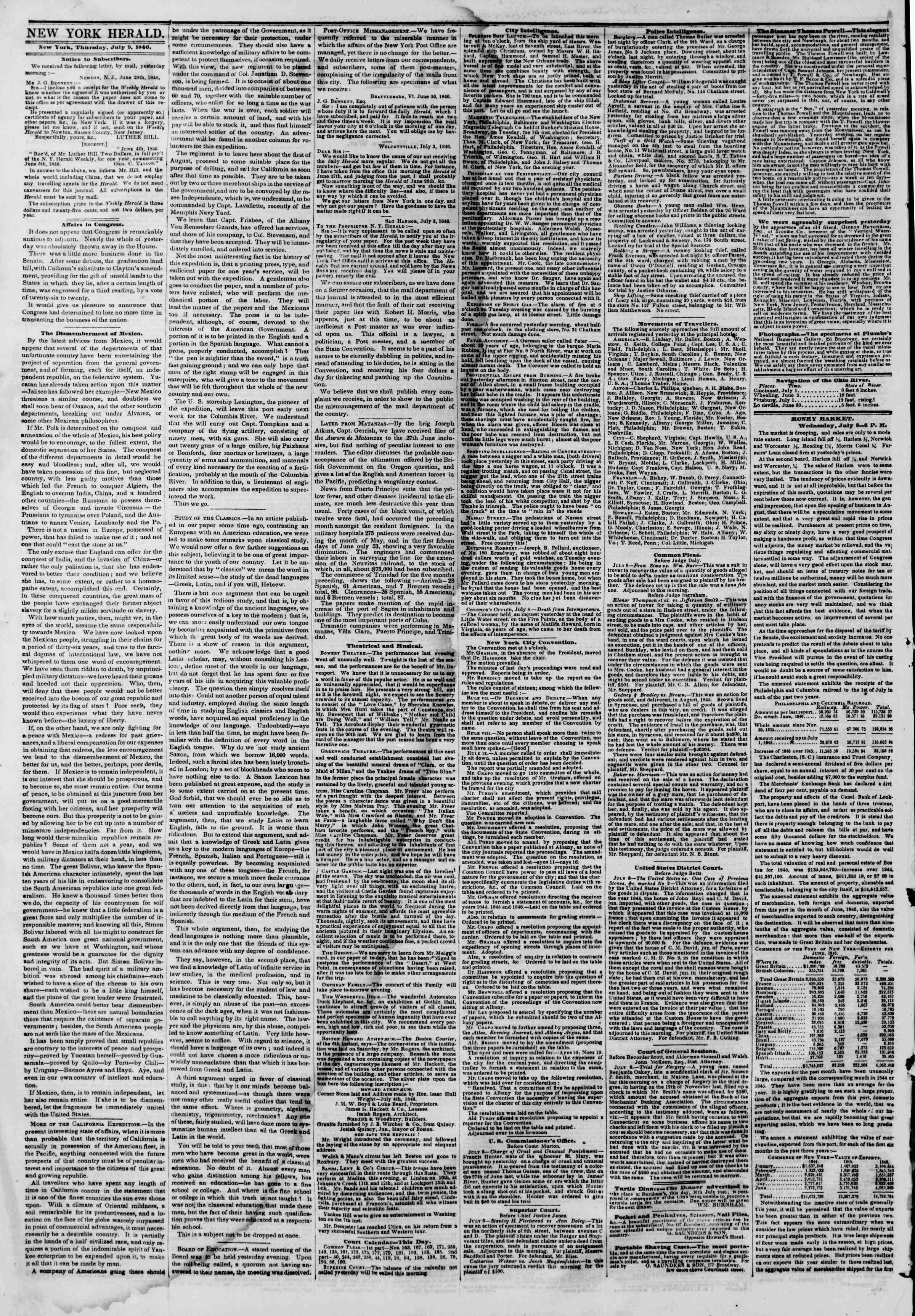 Newspaper of The New York Herald dated July 9, 1846 Page 2