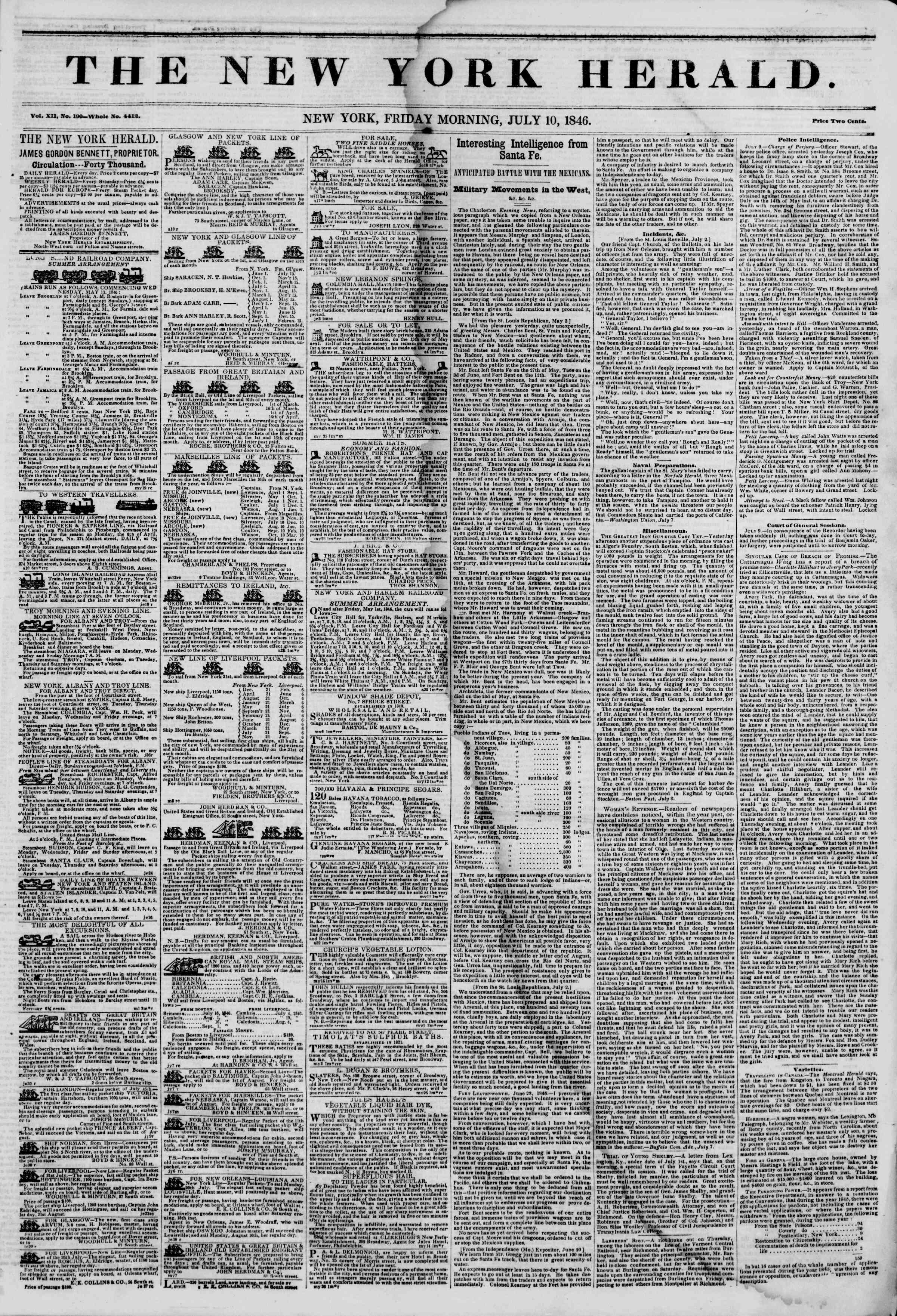 Newspaper of The New York Herald dated July 10, 1846 Page 1