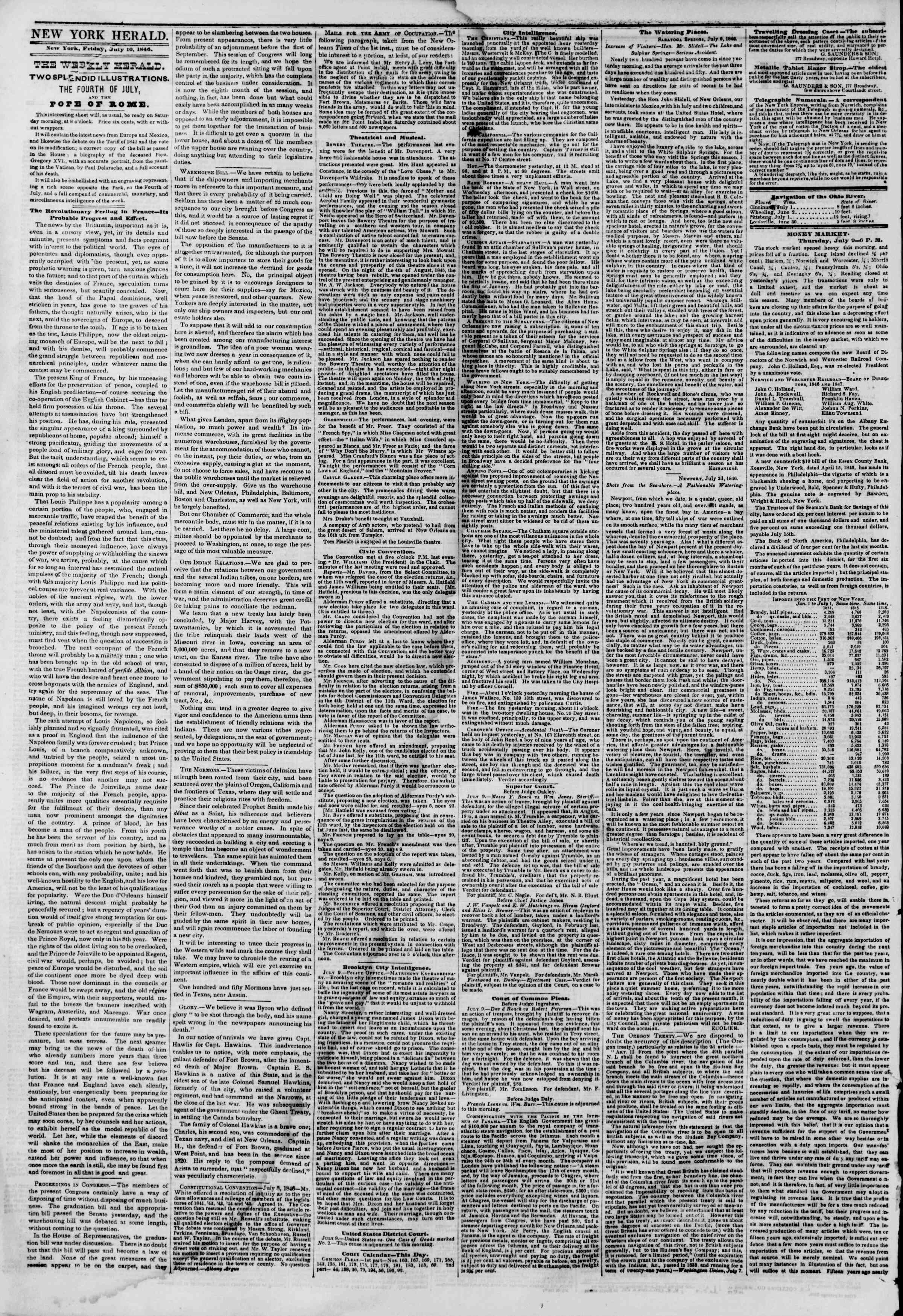 Newspaper of The New York Herald dated July 10, 1846 Page 2