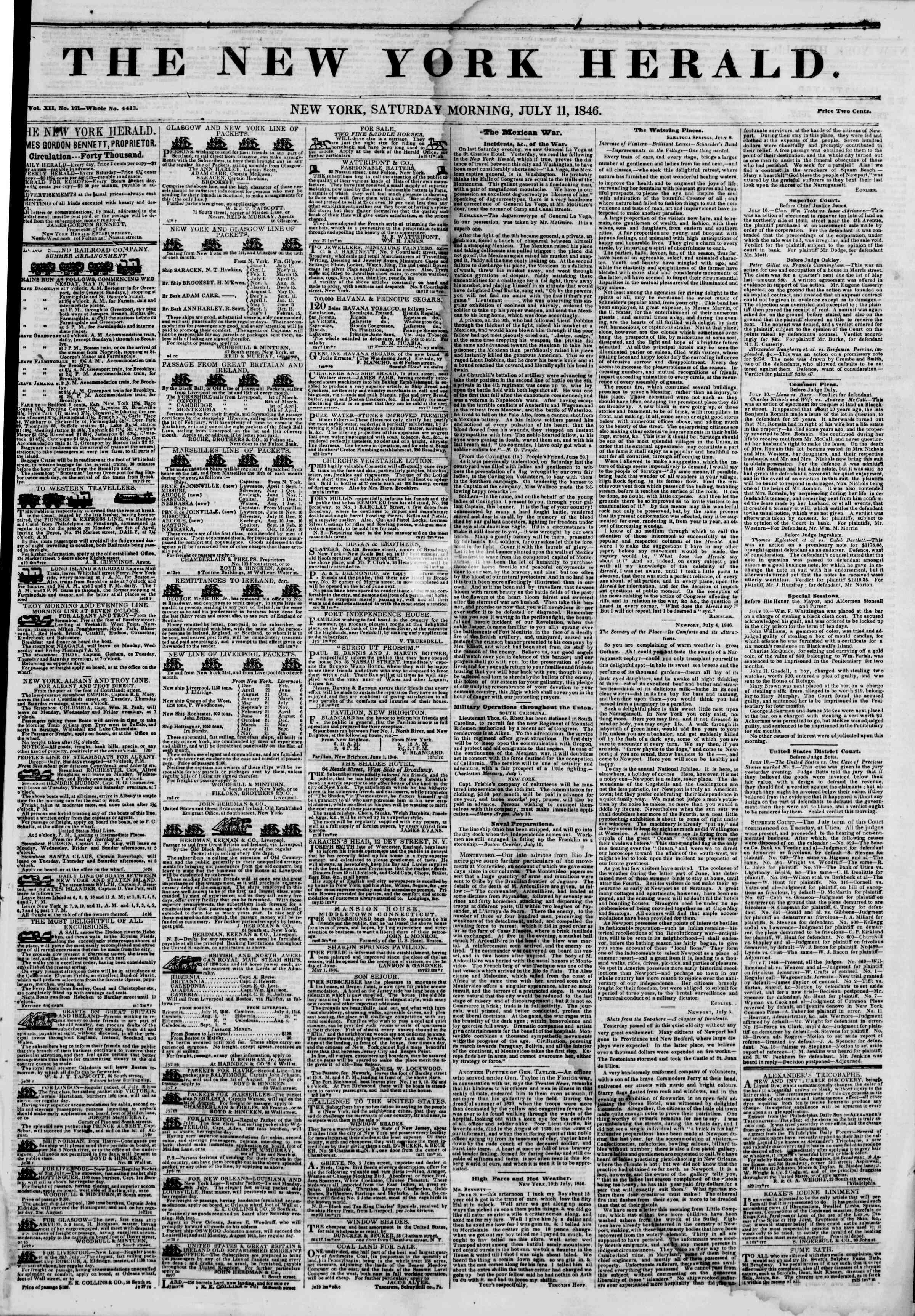 Newspaper of The New York Herald dated July 11, 1846 Page 1
