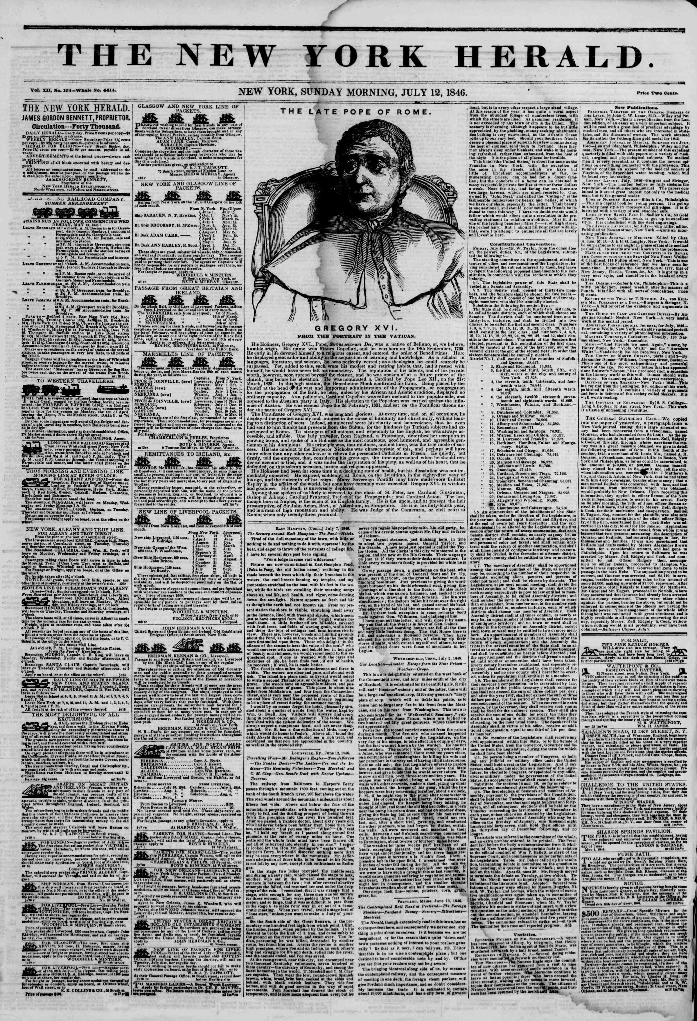 Newspaper of The New York Herald dated July 12, 1846 Page 1