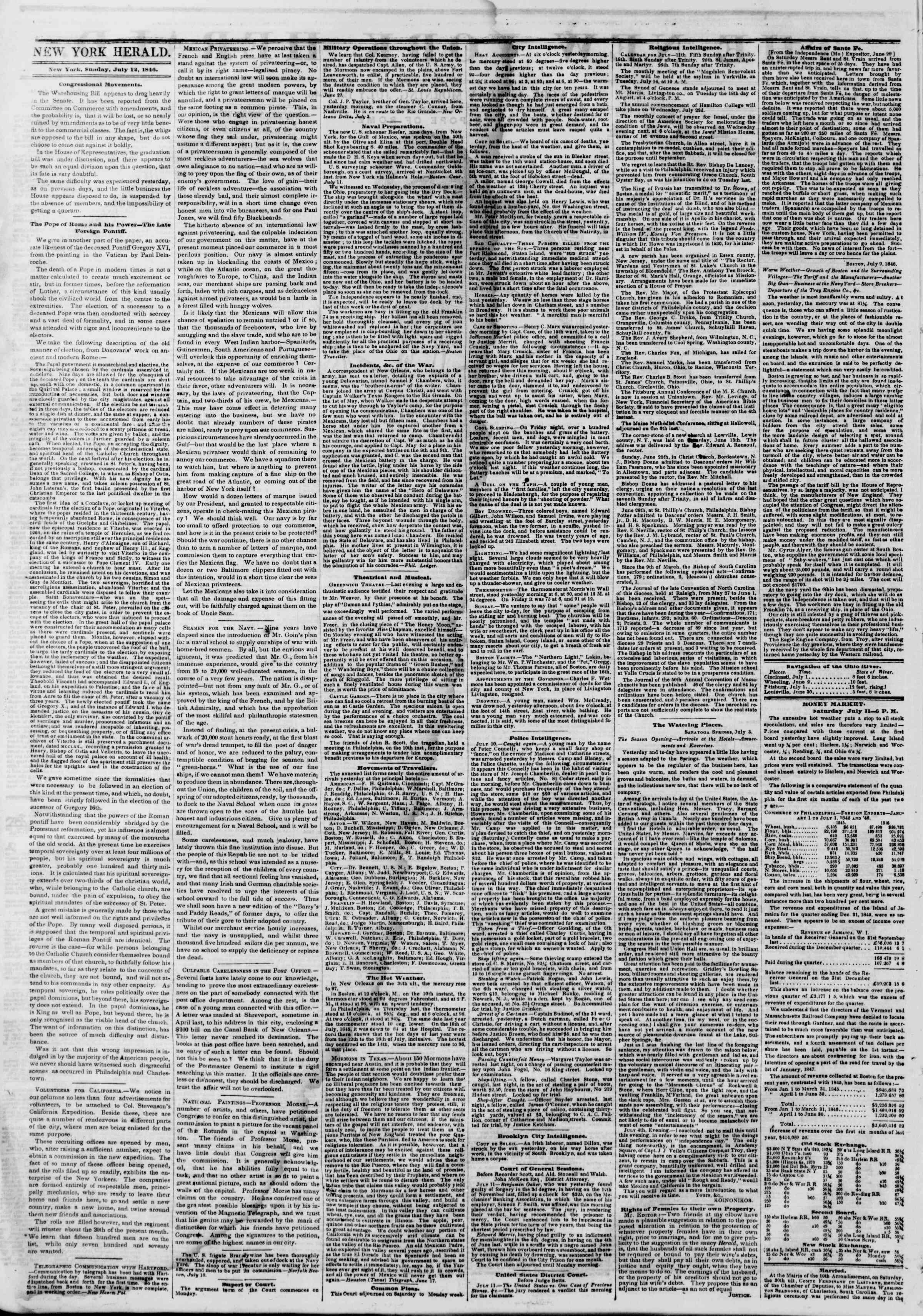 Newspaper of The New York Herald dated July 12, 1846 Page 2