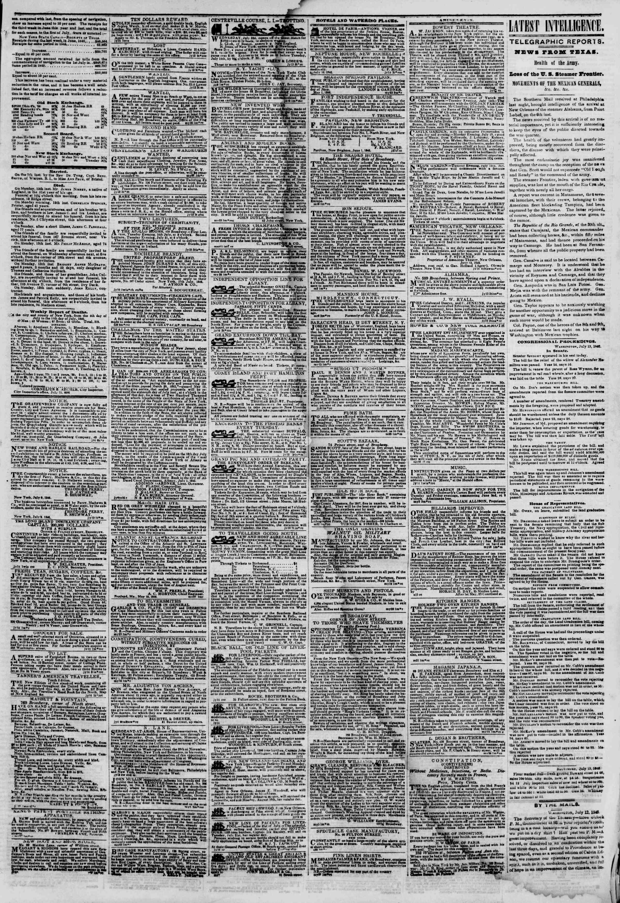 Newspaper of The New York Herald dated July 14, 1846 Page 3
