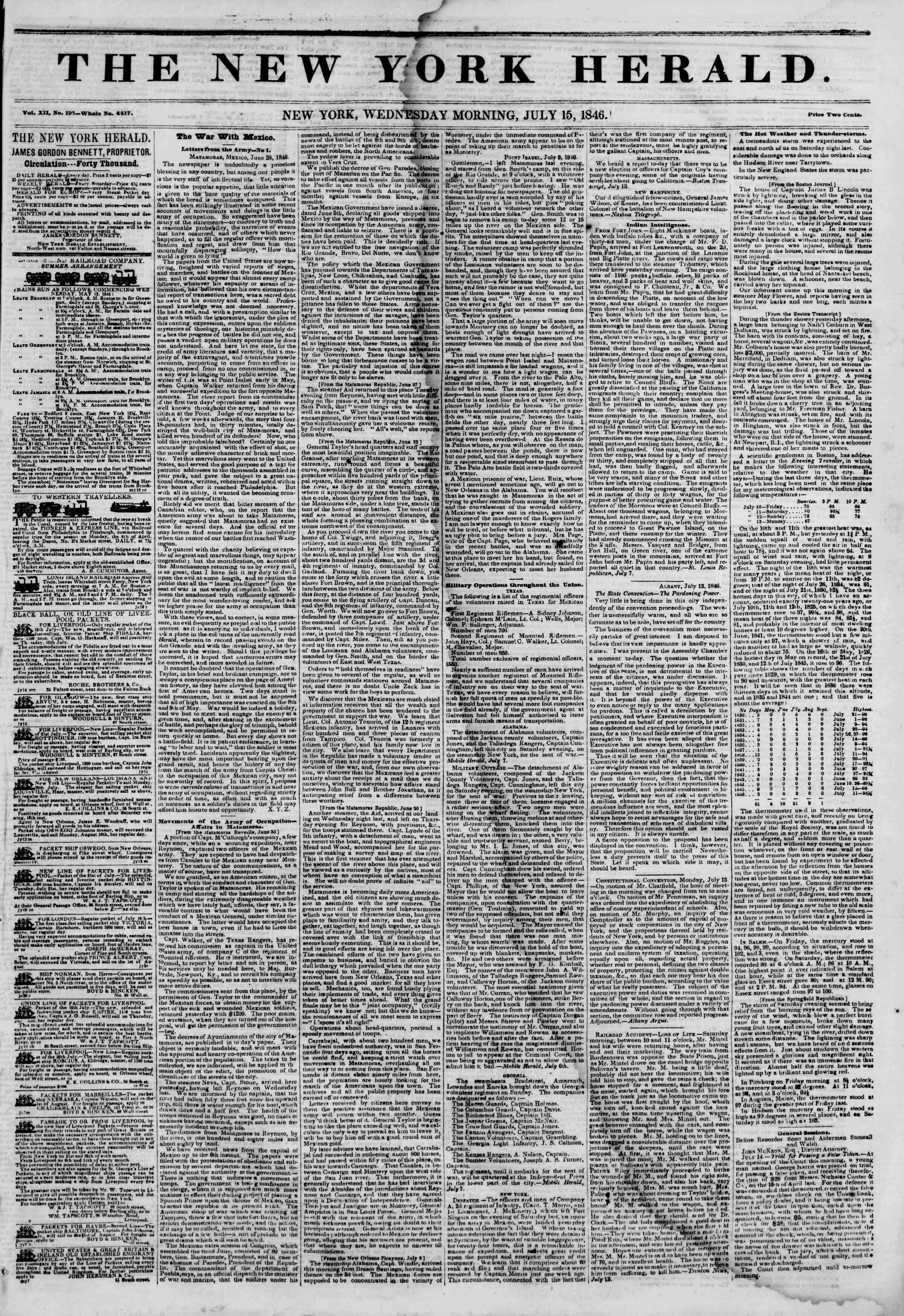 Newspaper of The New York Herald dated 15 Temmuz 1846 Page 1