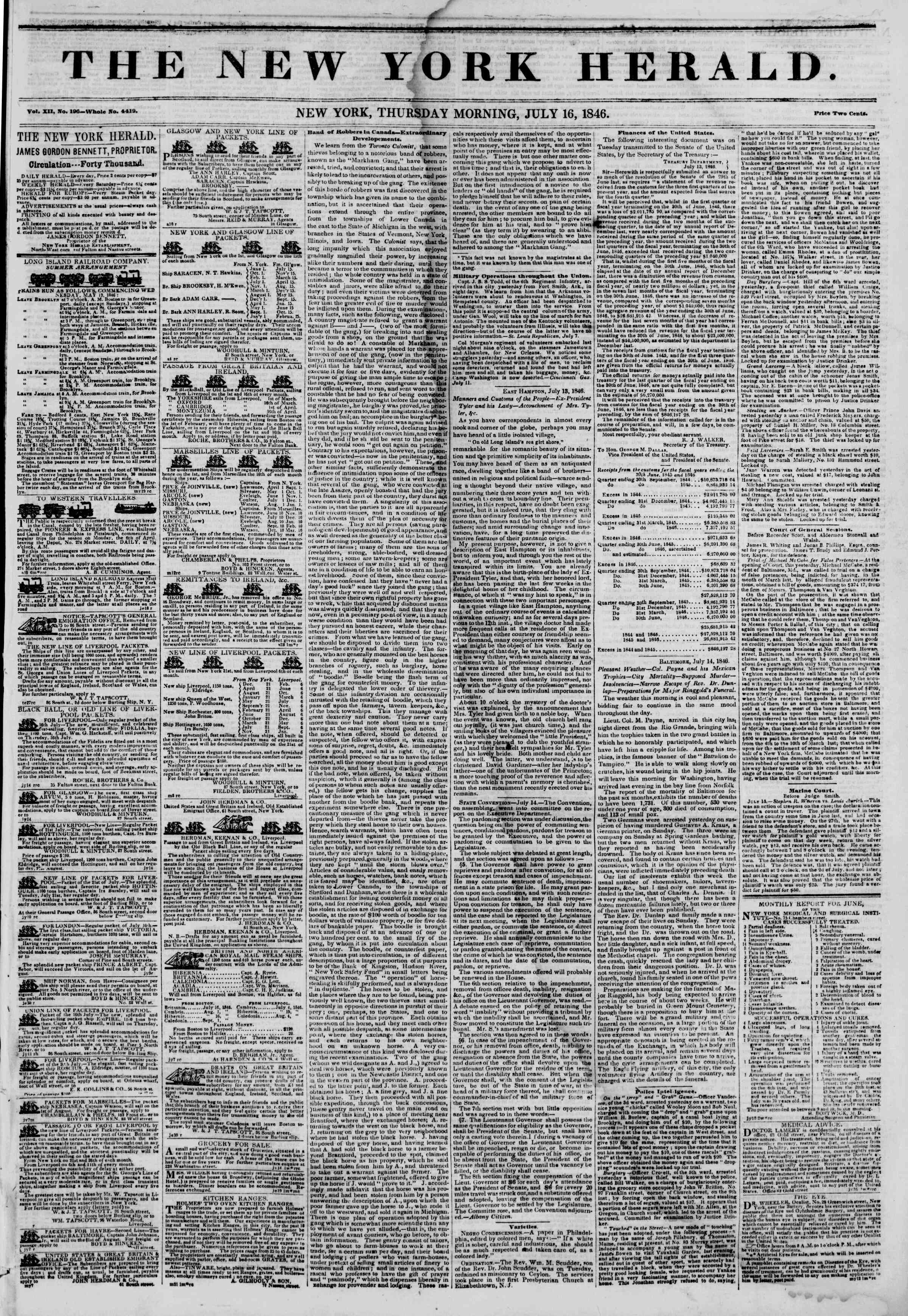 Newspaper of The New York Herald dated July 16, 1846 Page 1