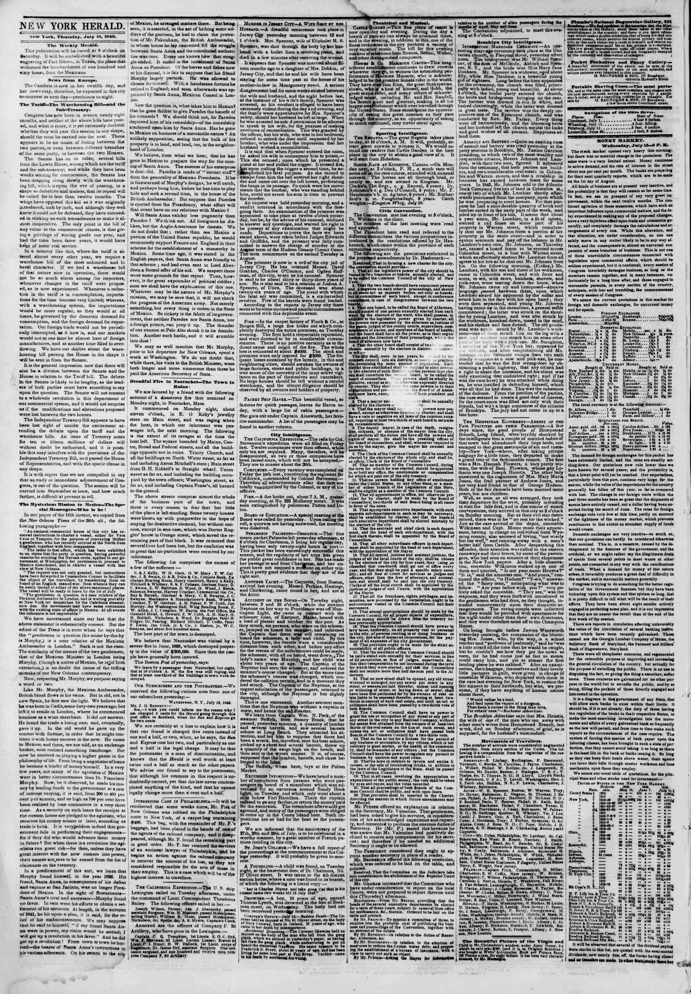 Newspaper of The New York Herald dated July 16, 1846 Page 2
