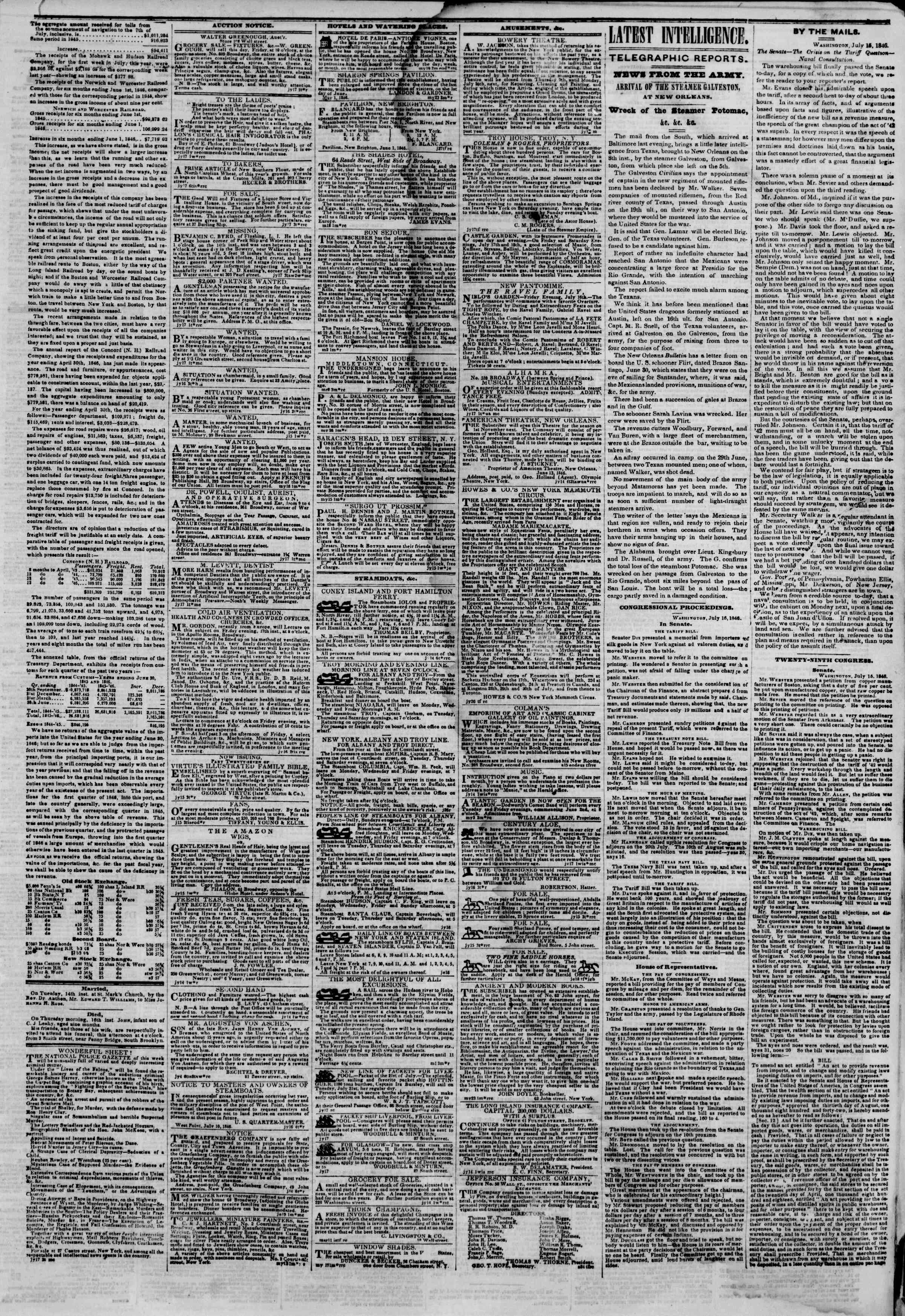 Newspaper of The New York Herald dated July 17, 1846 Page 3