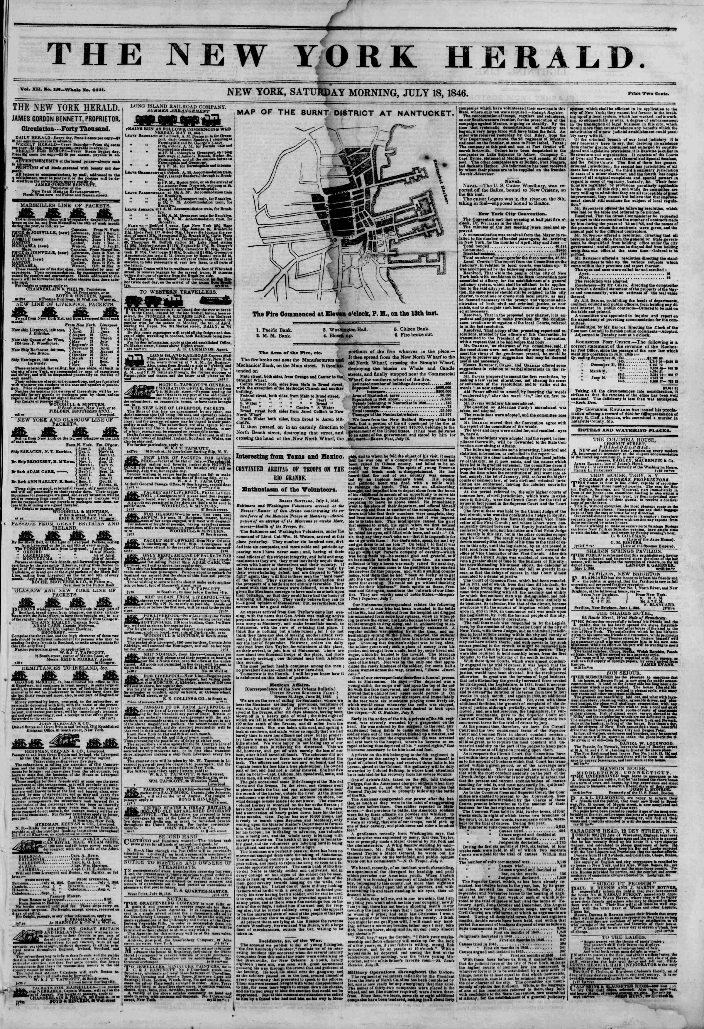 Newspaper of The New York Herald dated July 18, 1846 Page 1