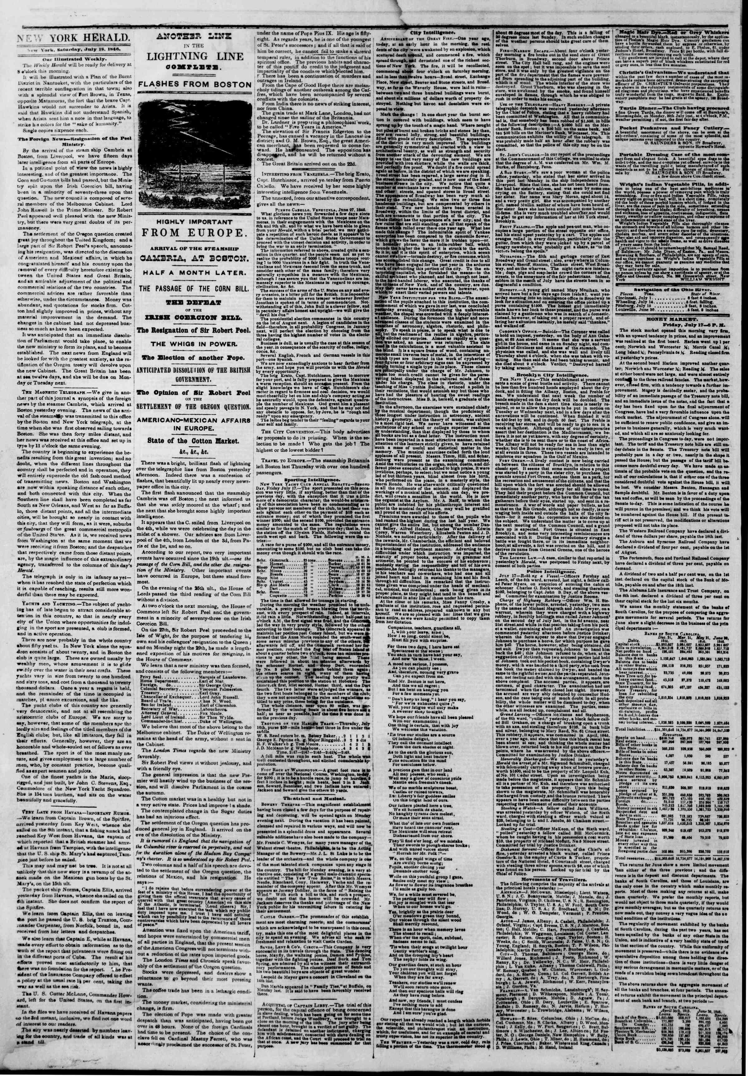 Newspaper of The New York Herald dated July 18, 1846 Page 2