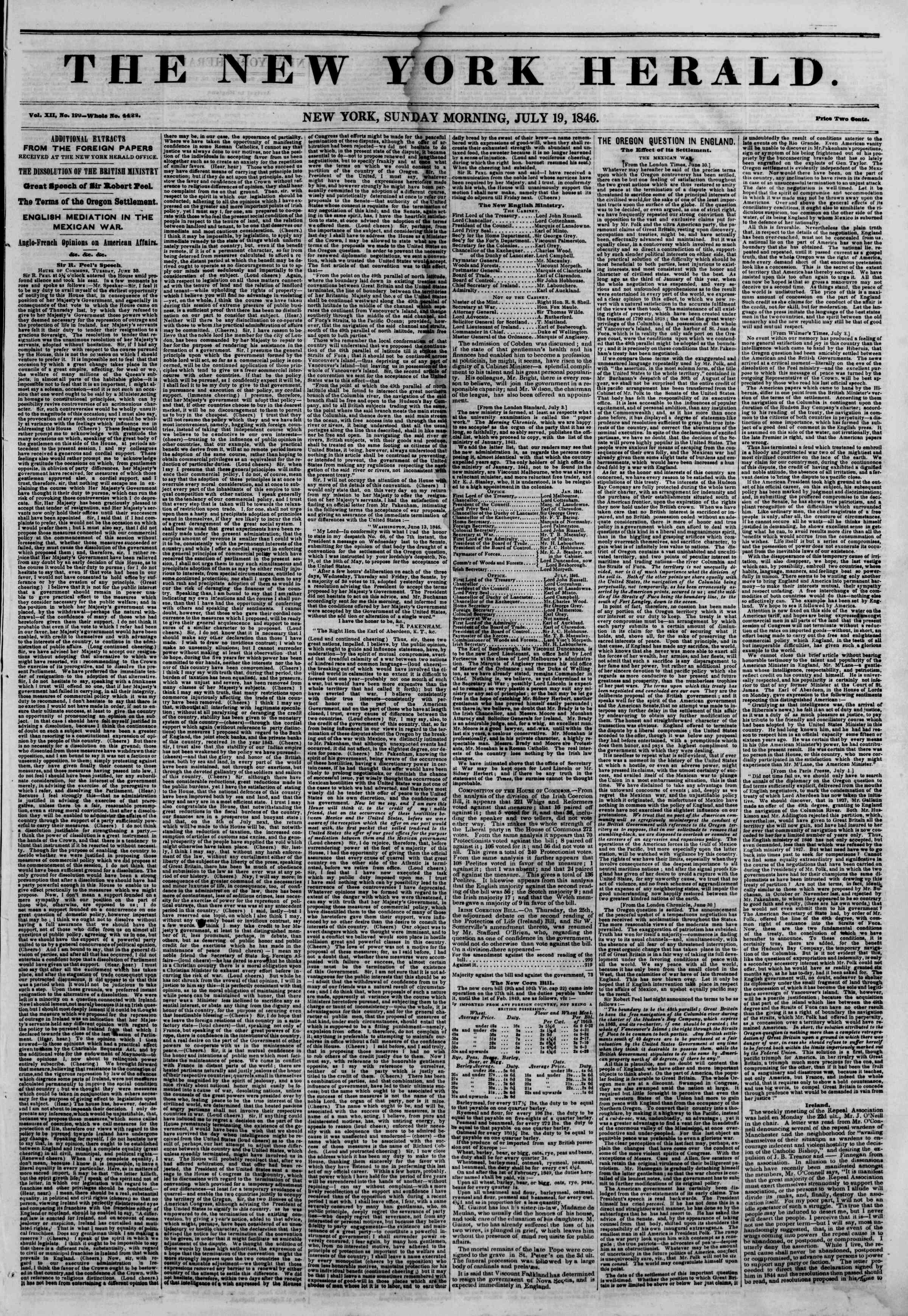 Newspaper of The New York Herald dated July 19, 1846 Page 1