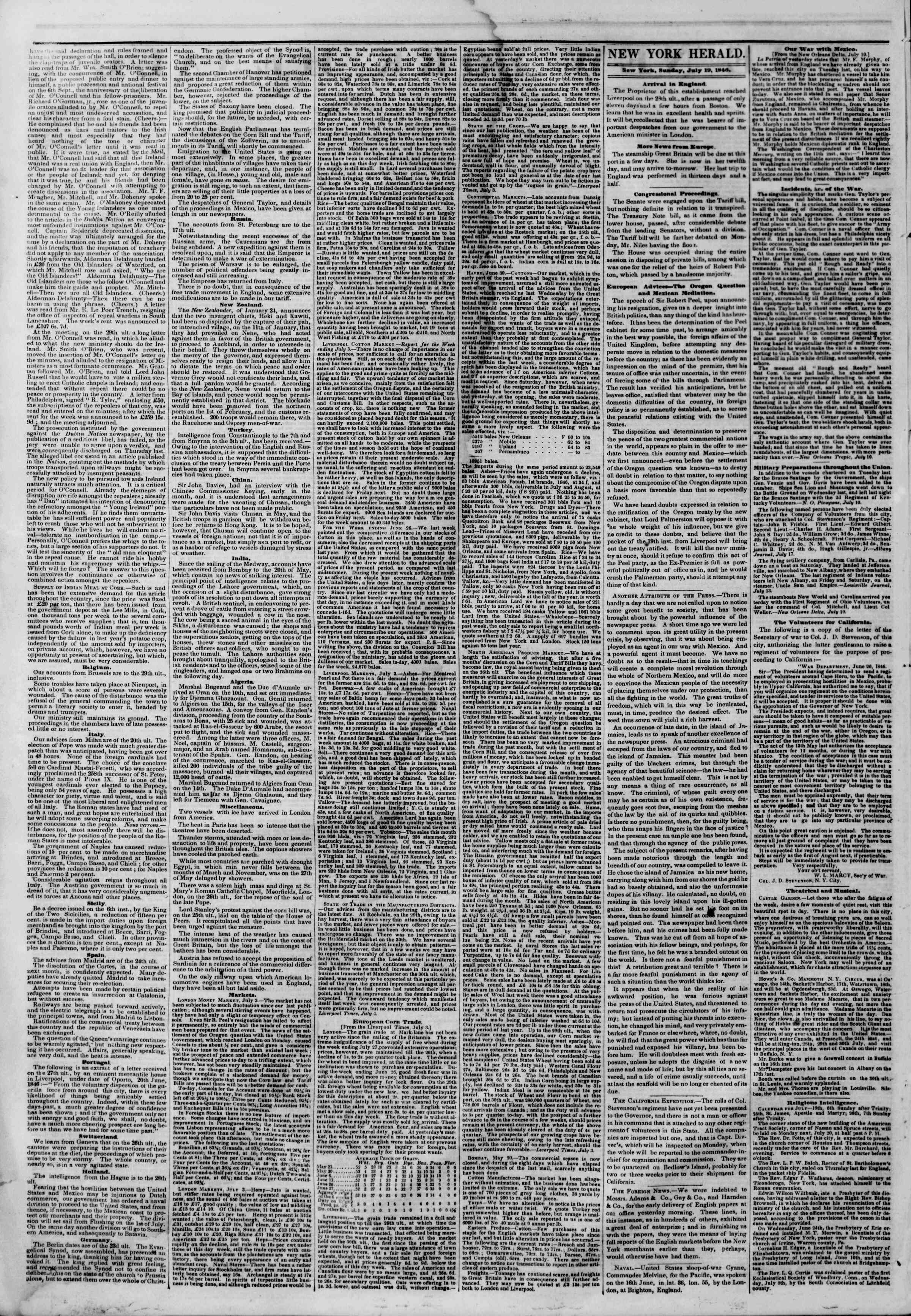 Newspaper of The New York Herald dated July 19, 1846 Page 2