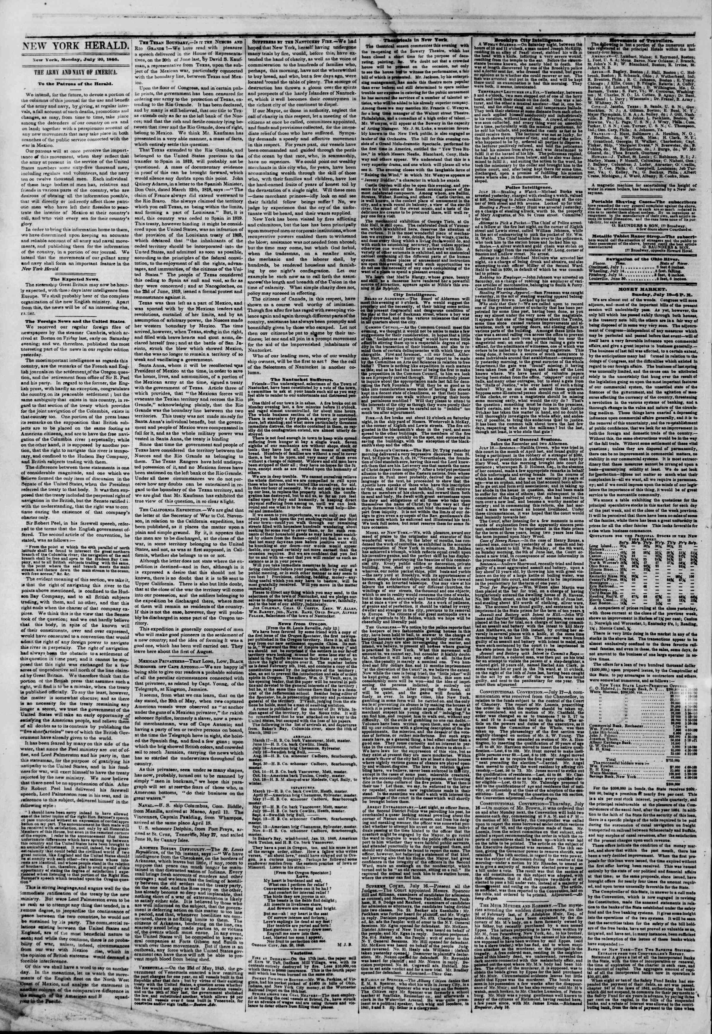 Newspaper of The New York Herald dated July 20, 1846 Page 2