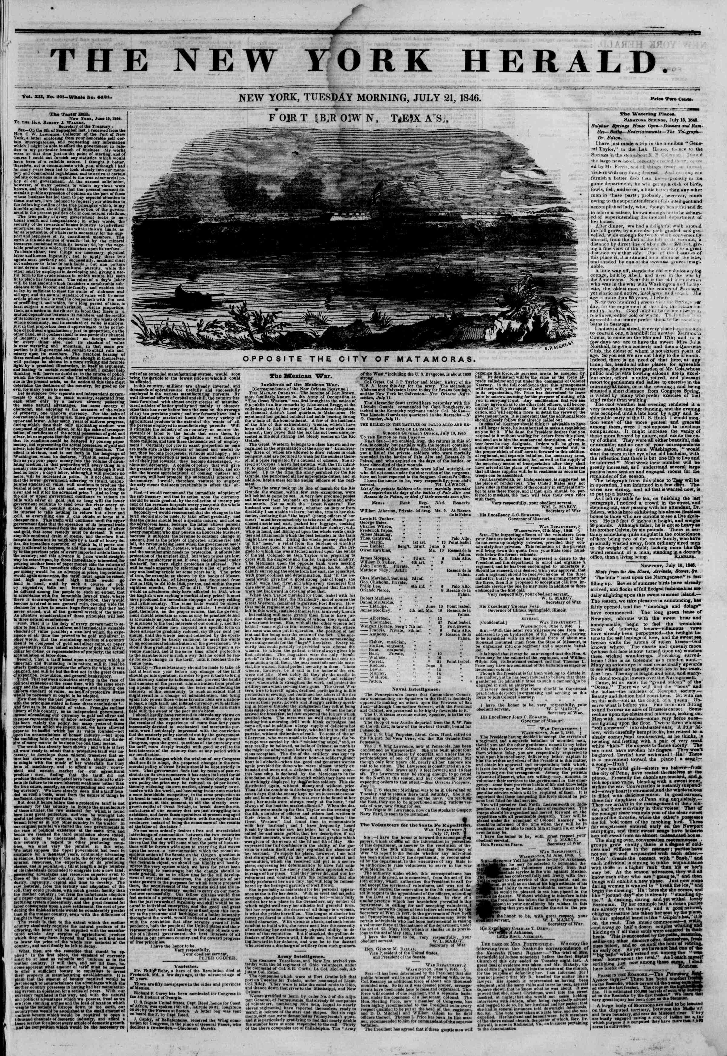Newspaper of The New York Herald dated July 21, 1846 Page 1