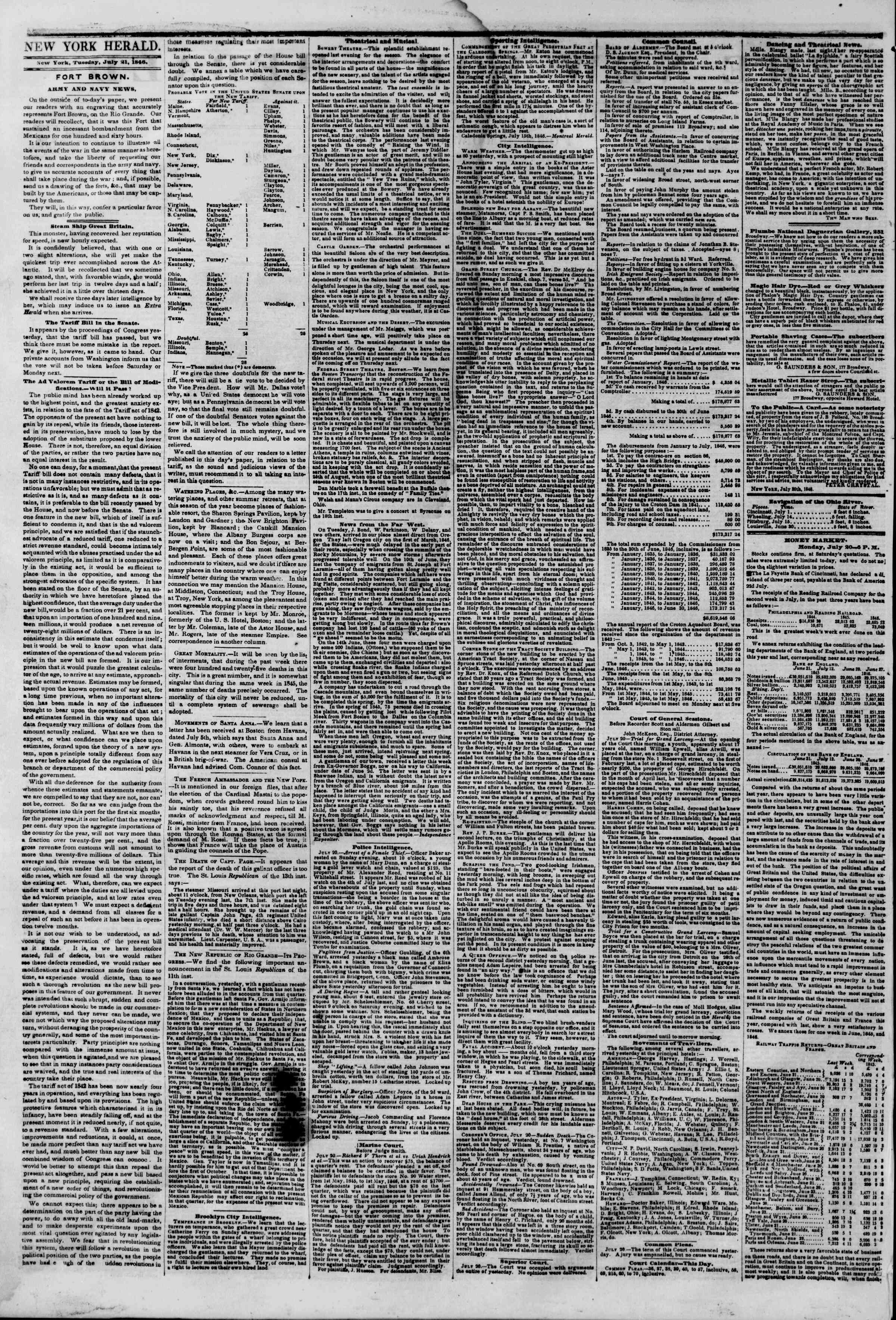 Newspaper of The New York Herald dated July 21, 1846 Page 2
