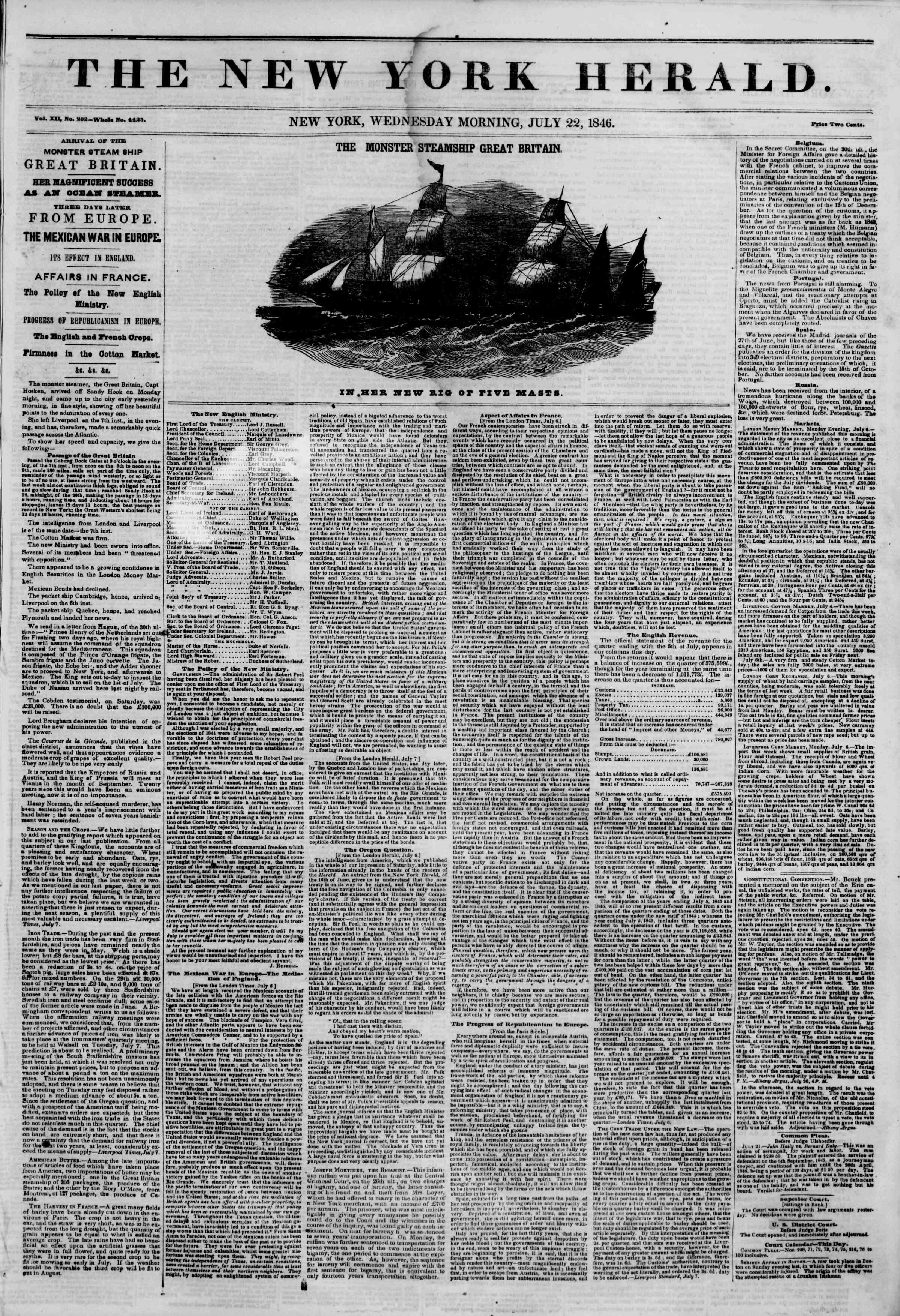 Newspaper of The New York Herald dated July 22, 1846 Page 1