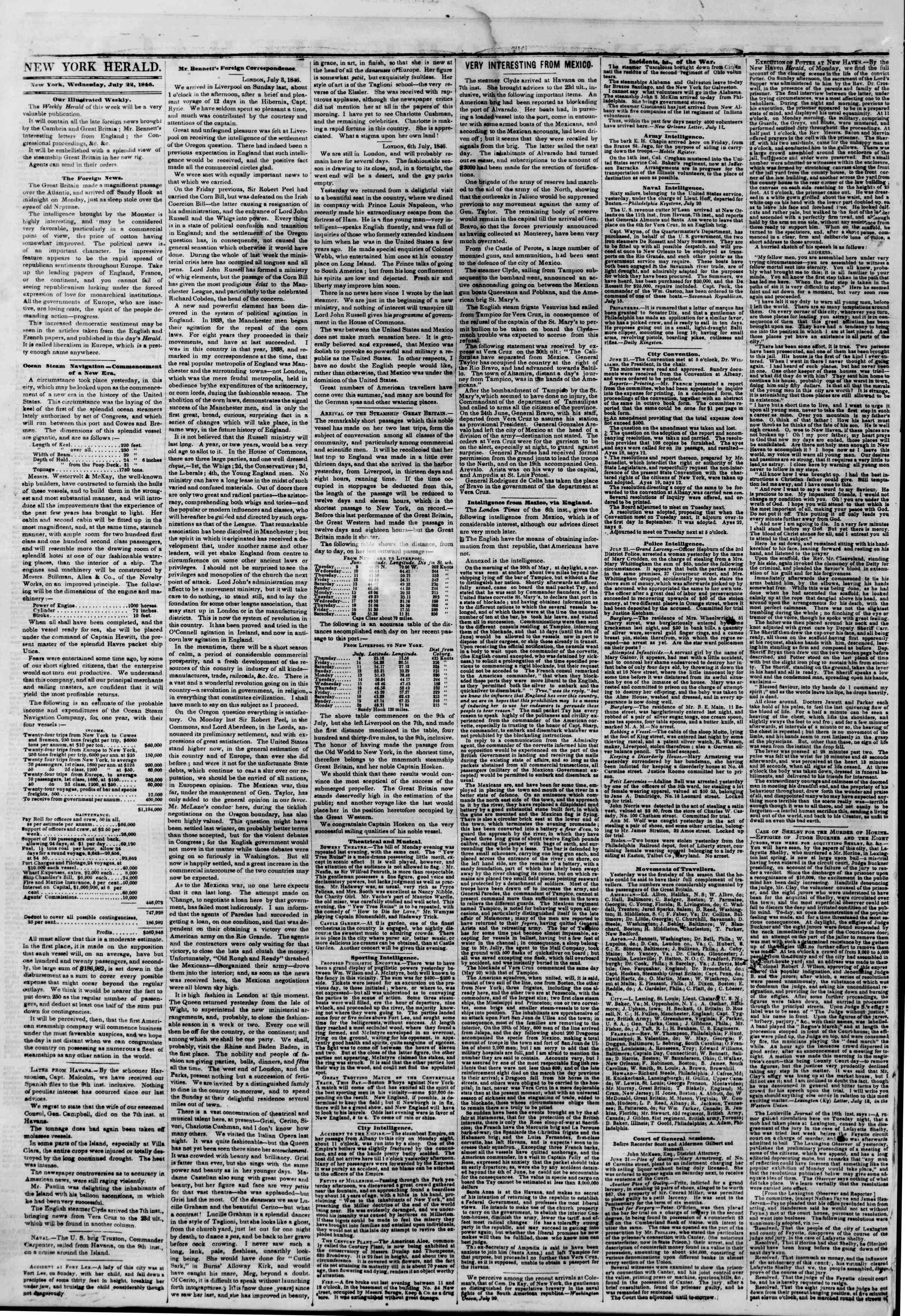 Newspaper of The New York Herald dated July 22, 1846 Page 2