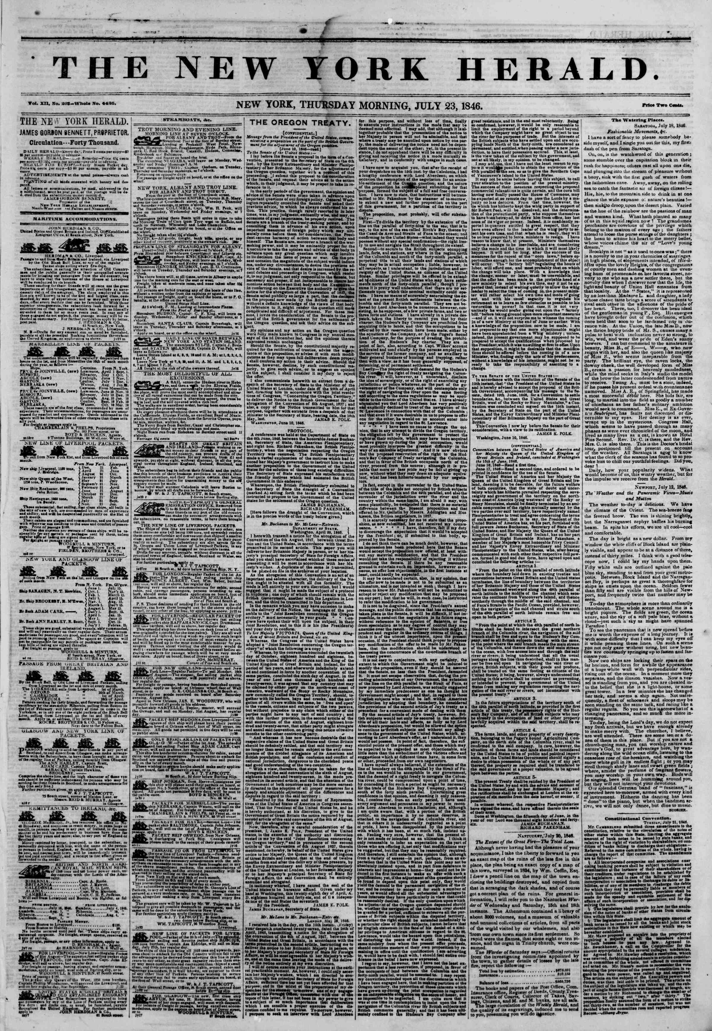 Newspaper of The New York Herald dated July 23, 1846 Page 1