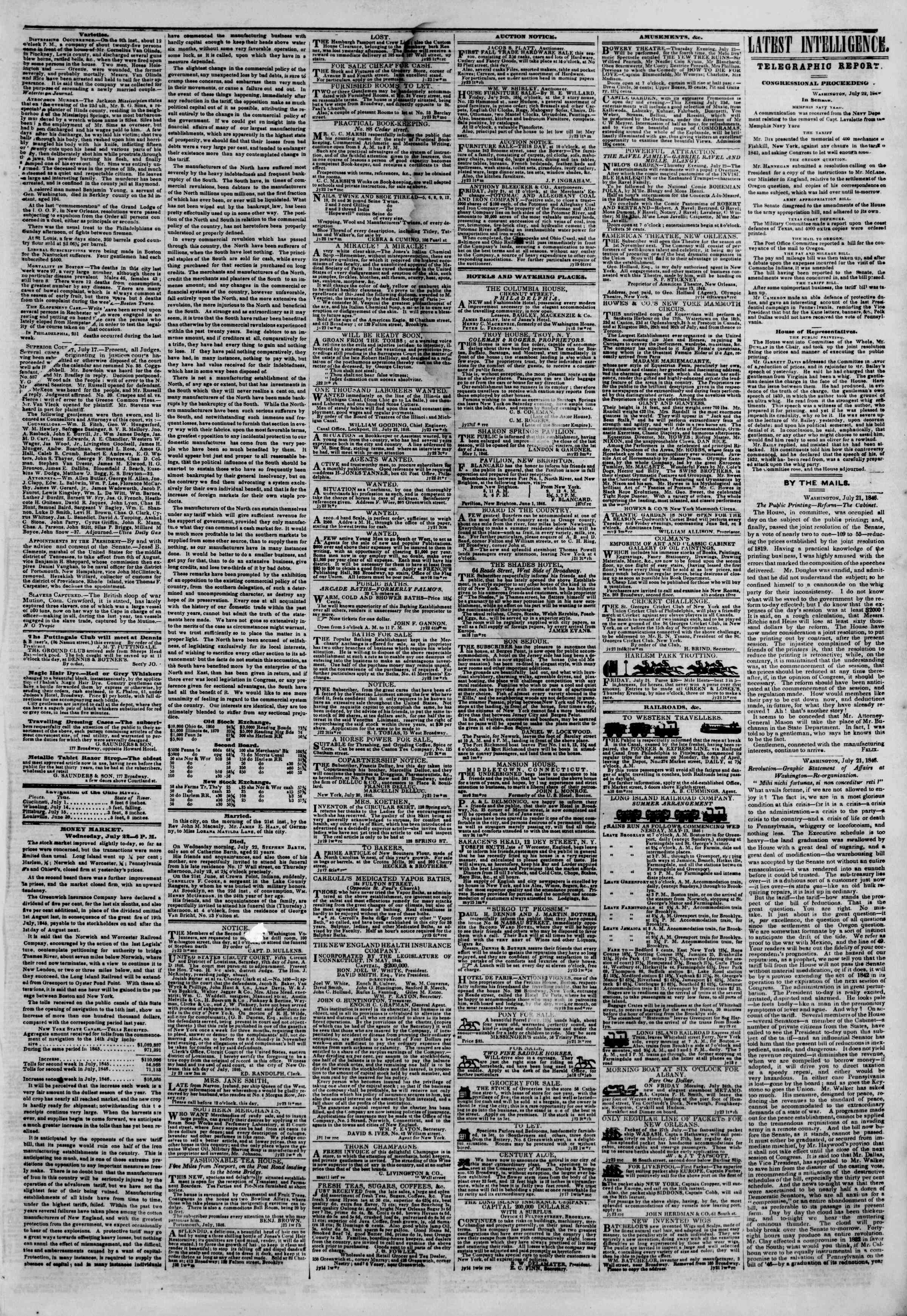 Newspaper of The New York Herald dated July 23, 1846 Page 3