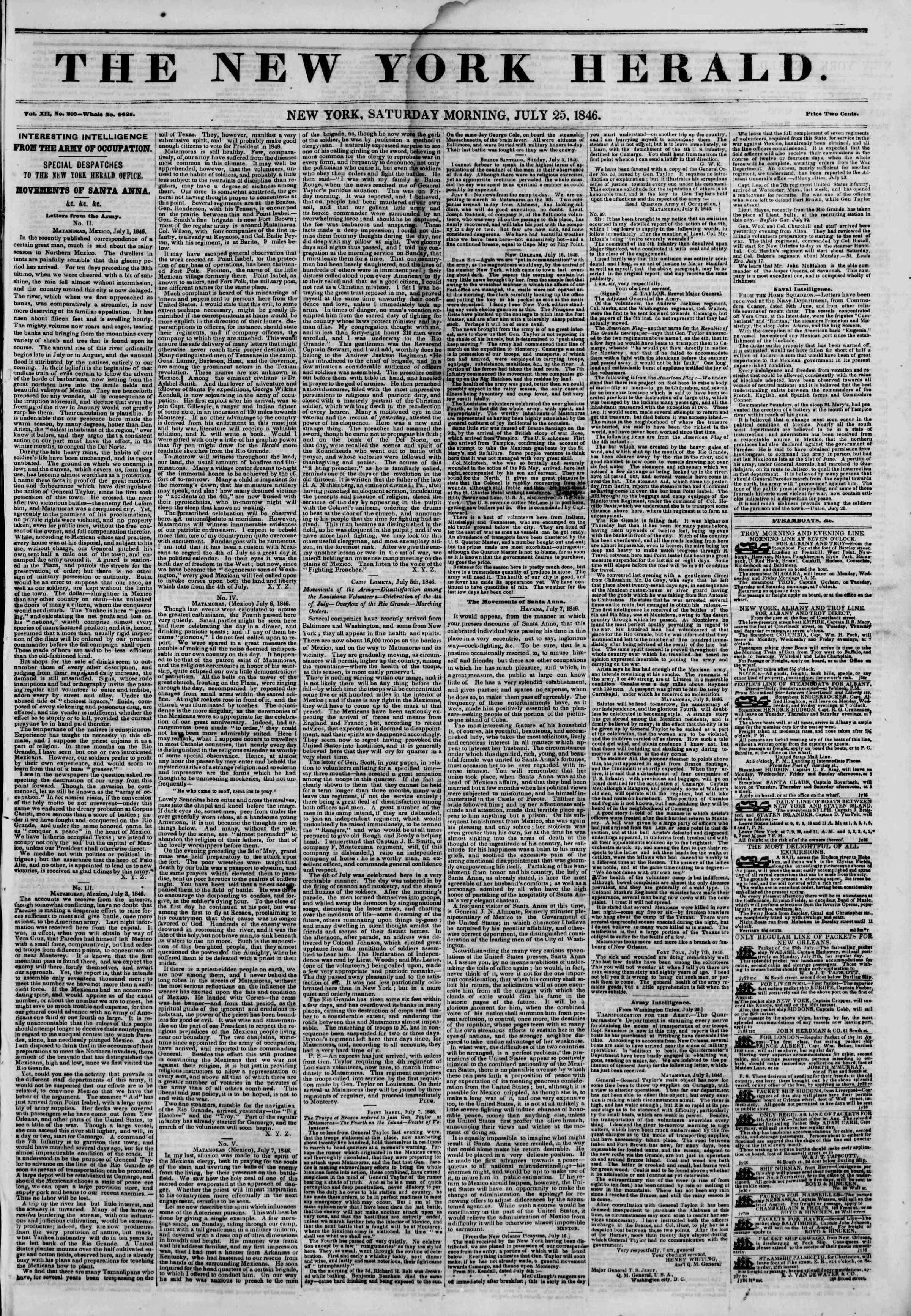 Newspaper of The New York Herald dated July 25, 1846 Page 1