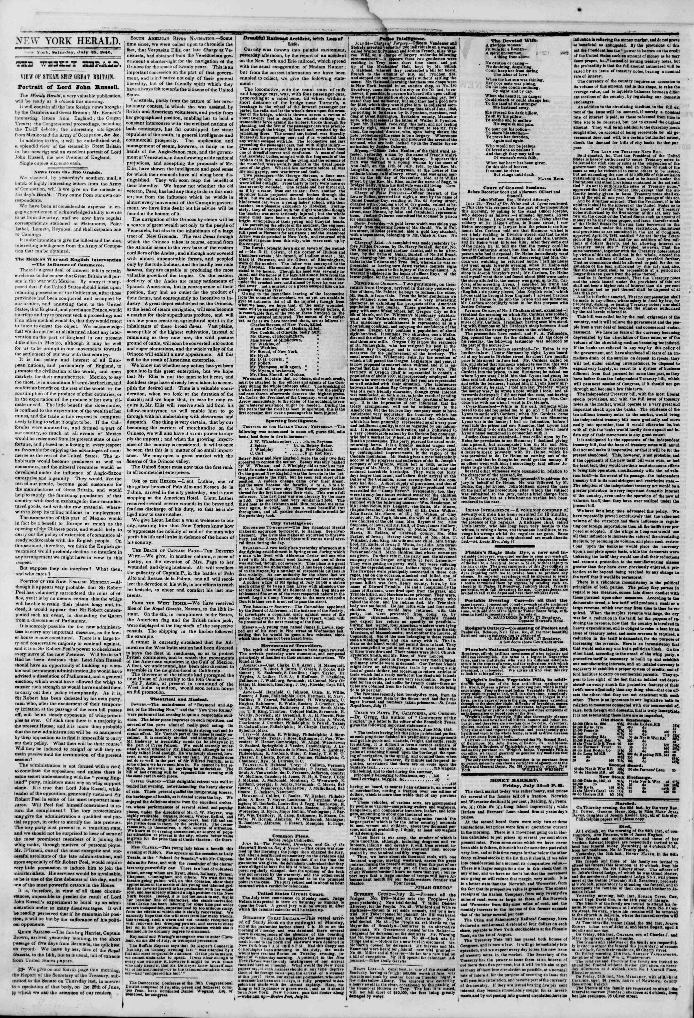 Newspaper of The New York Herald dated July 25, 1846 Page 2