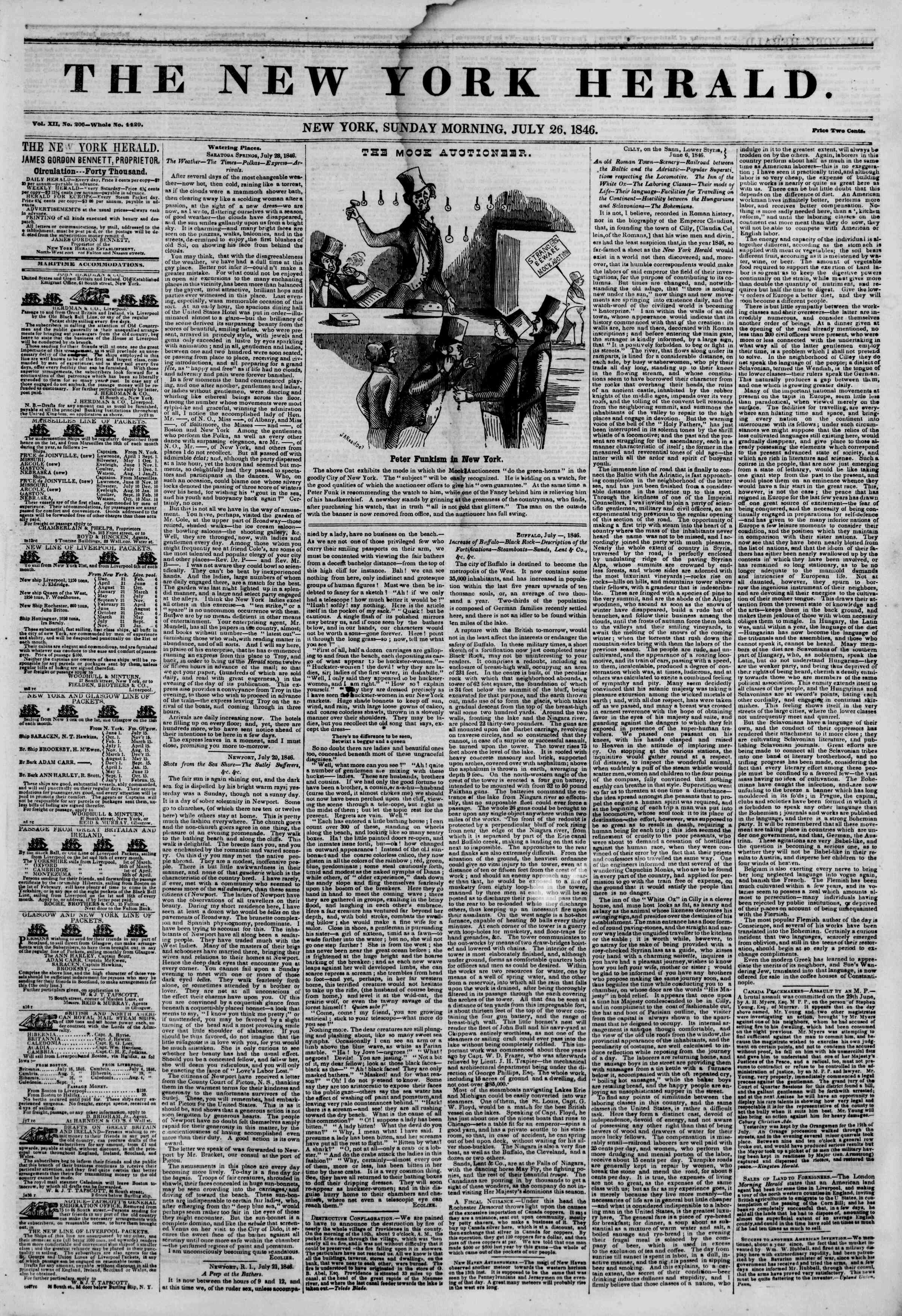 Newspaper of The New York Herald dated July 26, 1846 Page 1