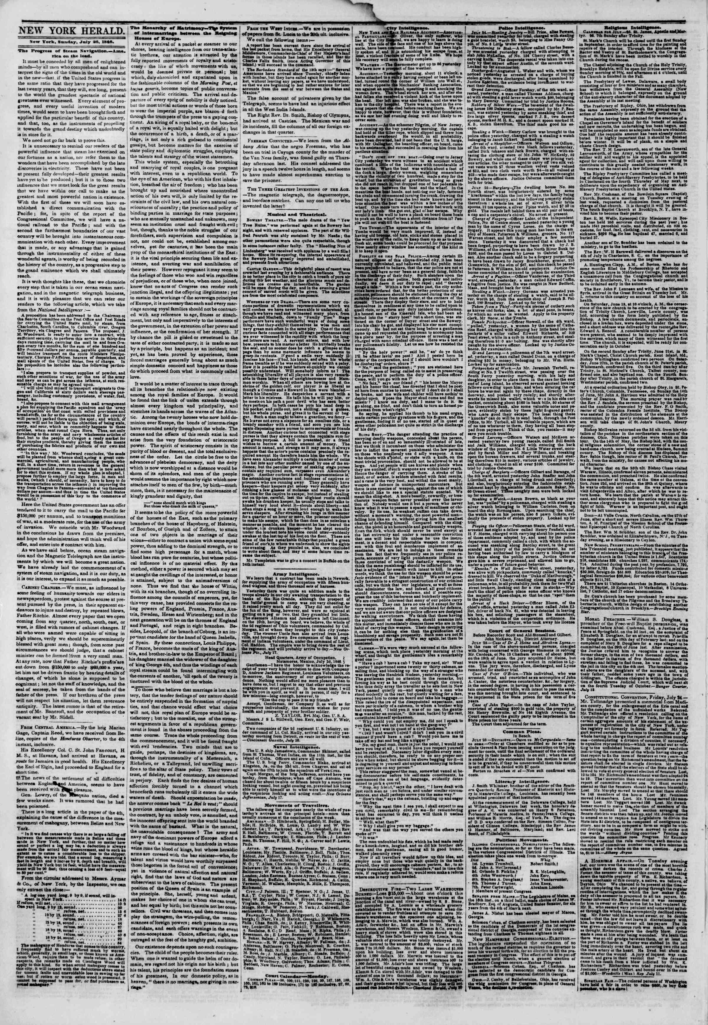 Newspaper of The New York Herald dated July 26, 1846 Page 2