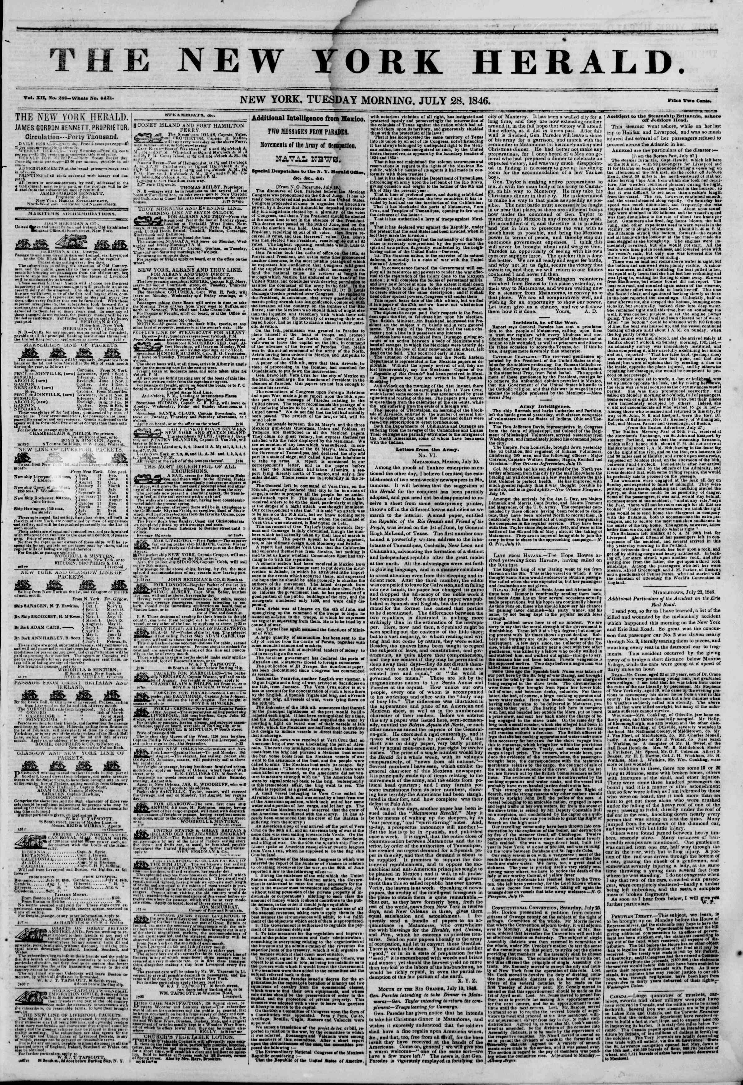 Newspaper of The New York Herald dated July 28, 1846 Page 1