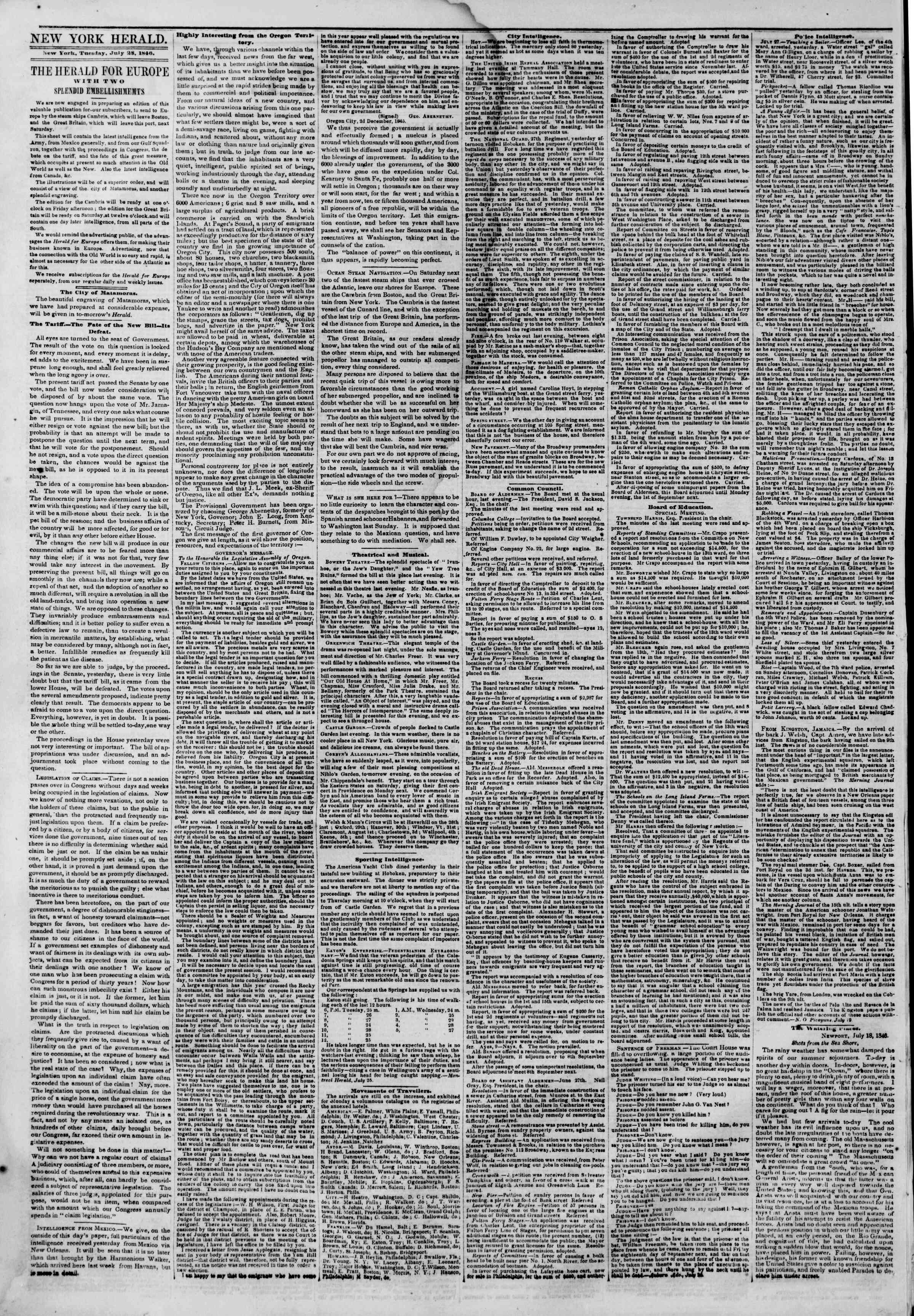 Newspaper of The New York Herald dated July 28, 1846 Page 2