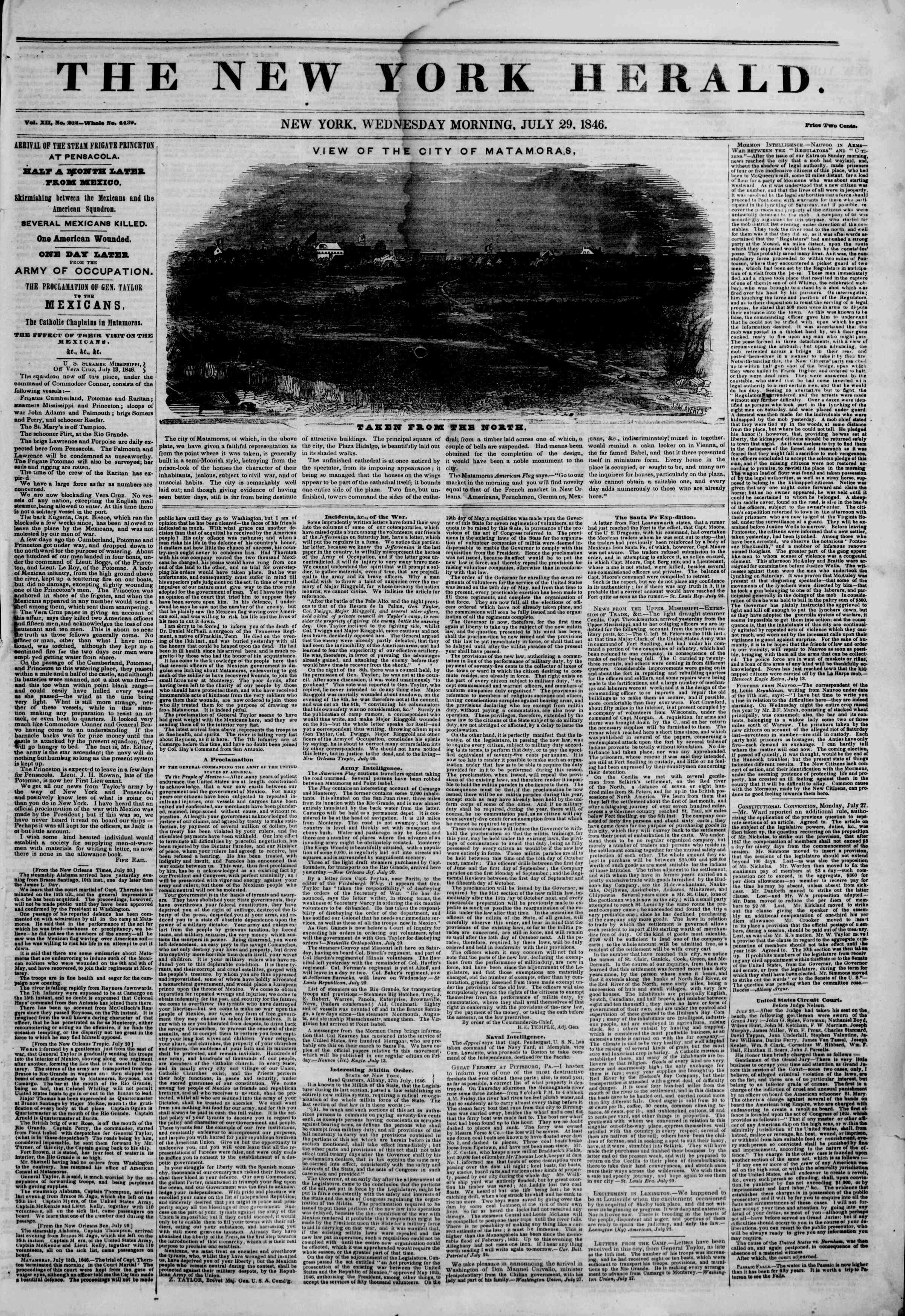 Newspaper of The New York Herald dated July 29, 1846 Page 1
