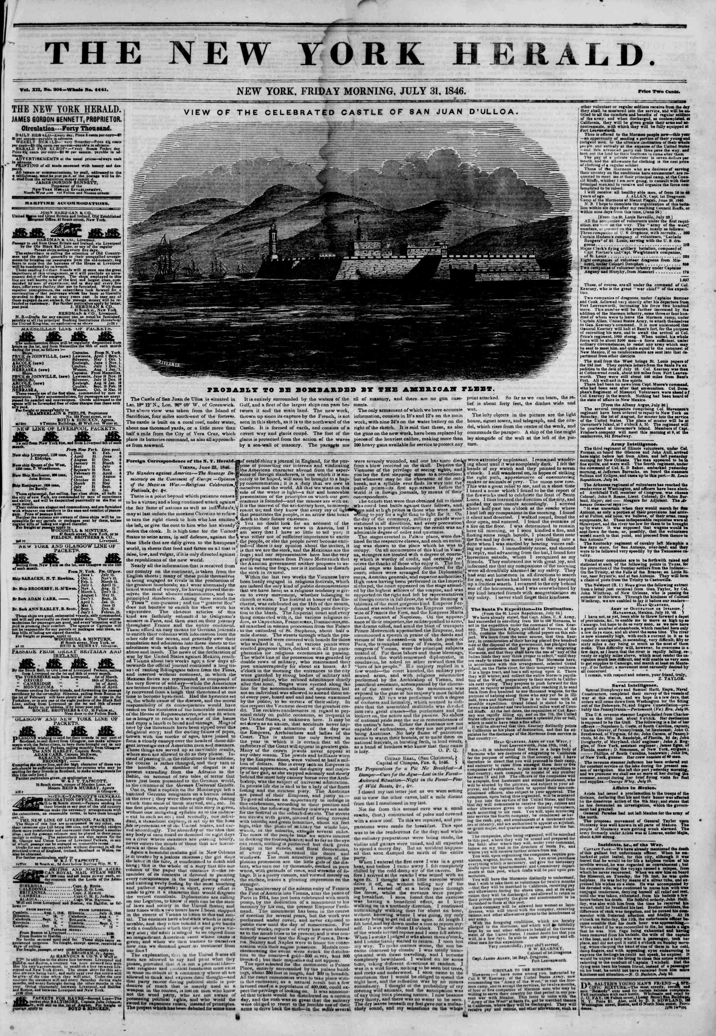 Newspaper of The New York Herald dated July 31, 1846 Page 1