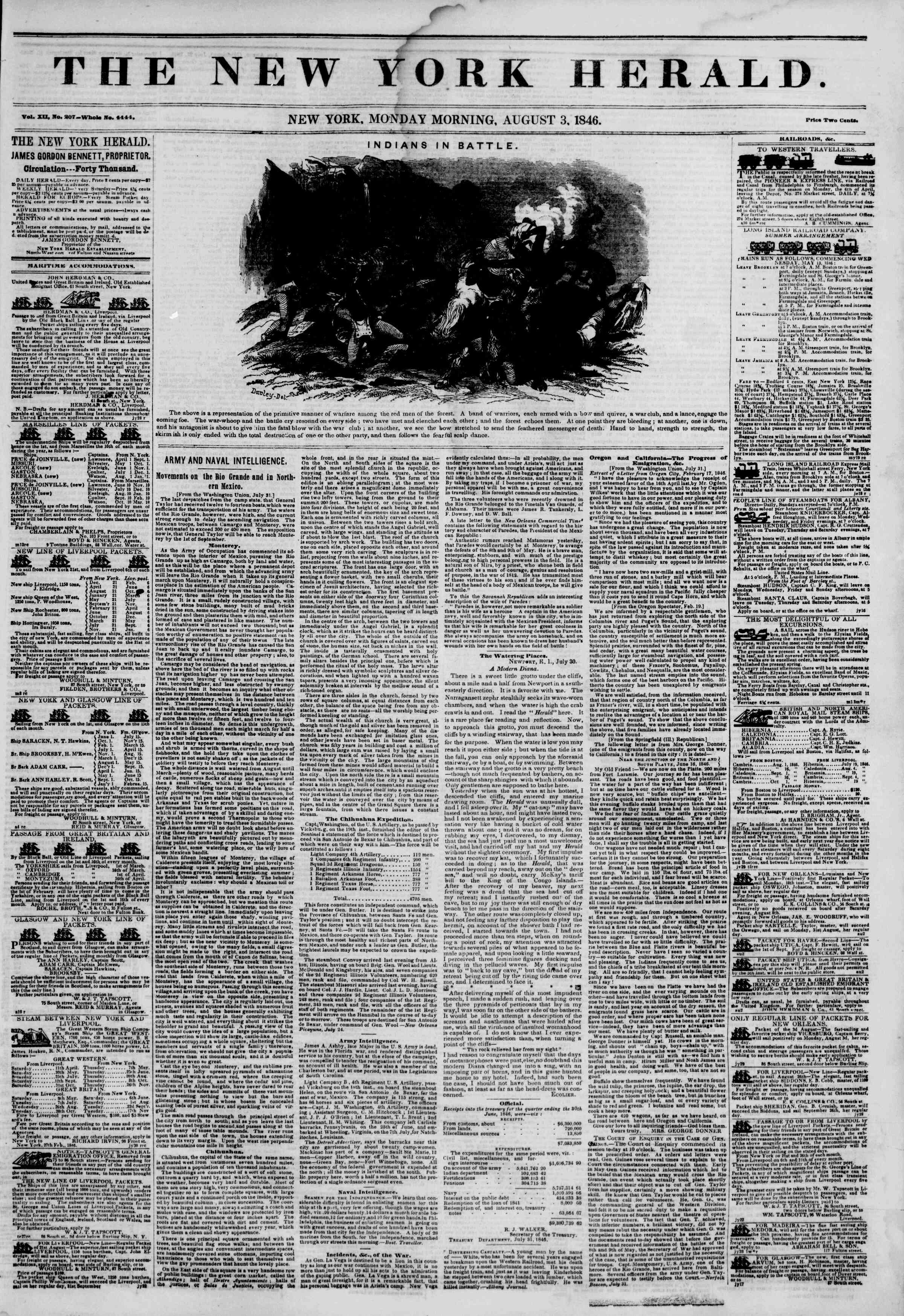 Newspaper of The New York Herald dated August 3, 1846 Page 1