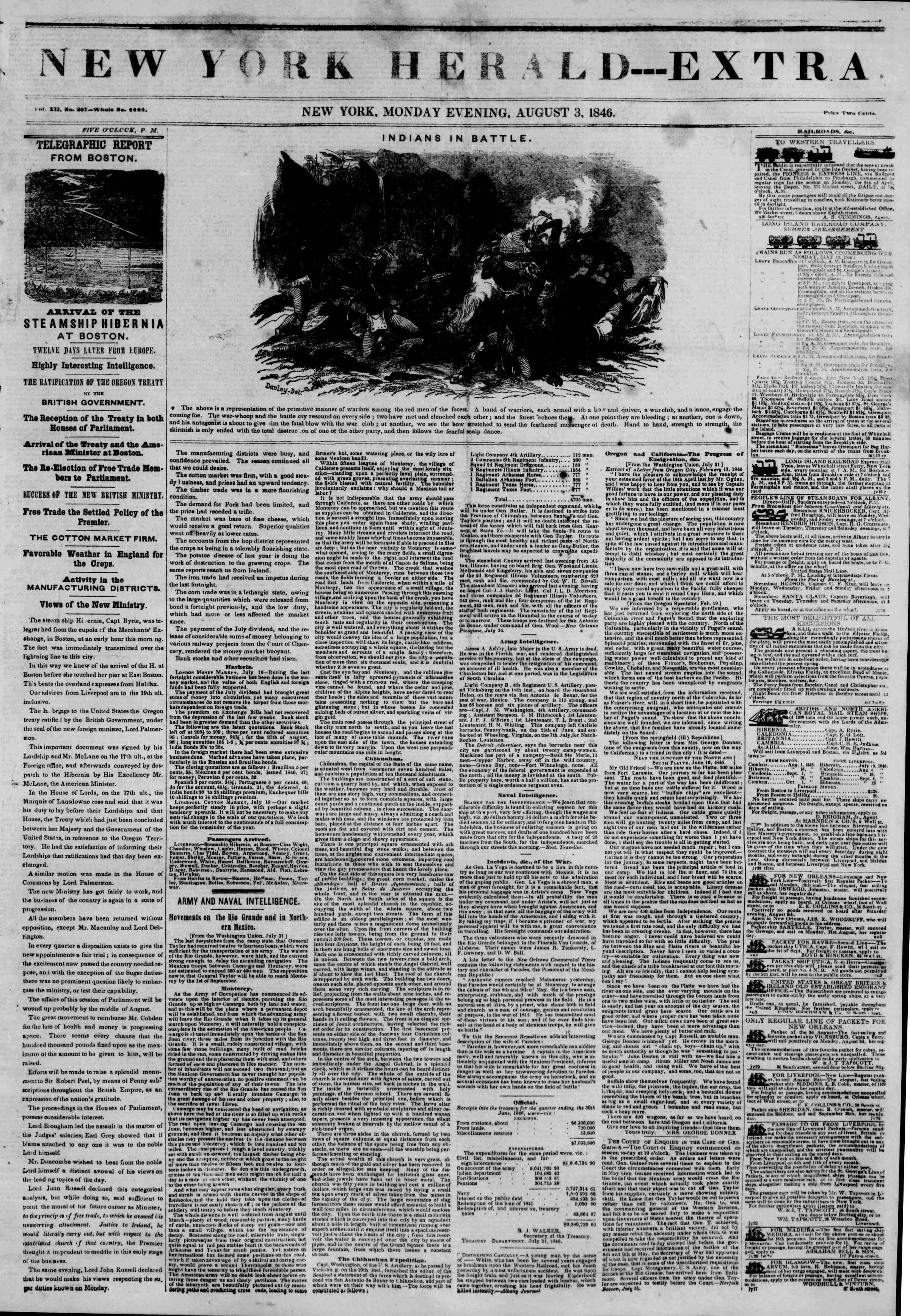 Newspaper of The New York Herald dated August 3, 1846 Page 2
