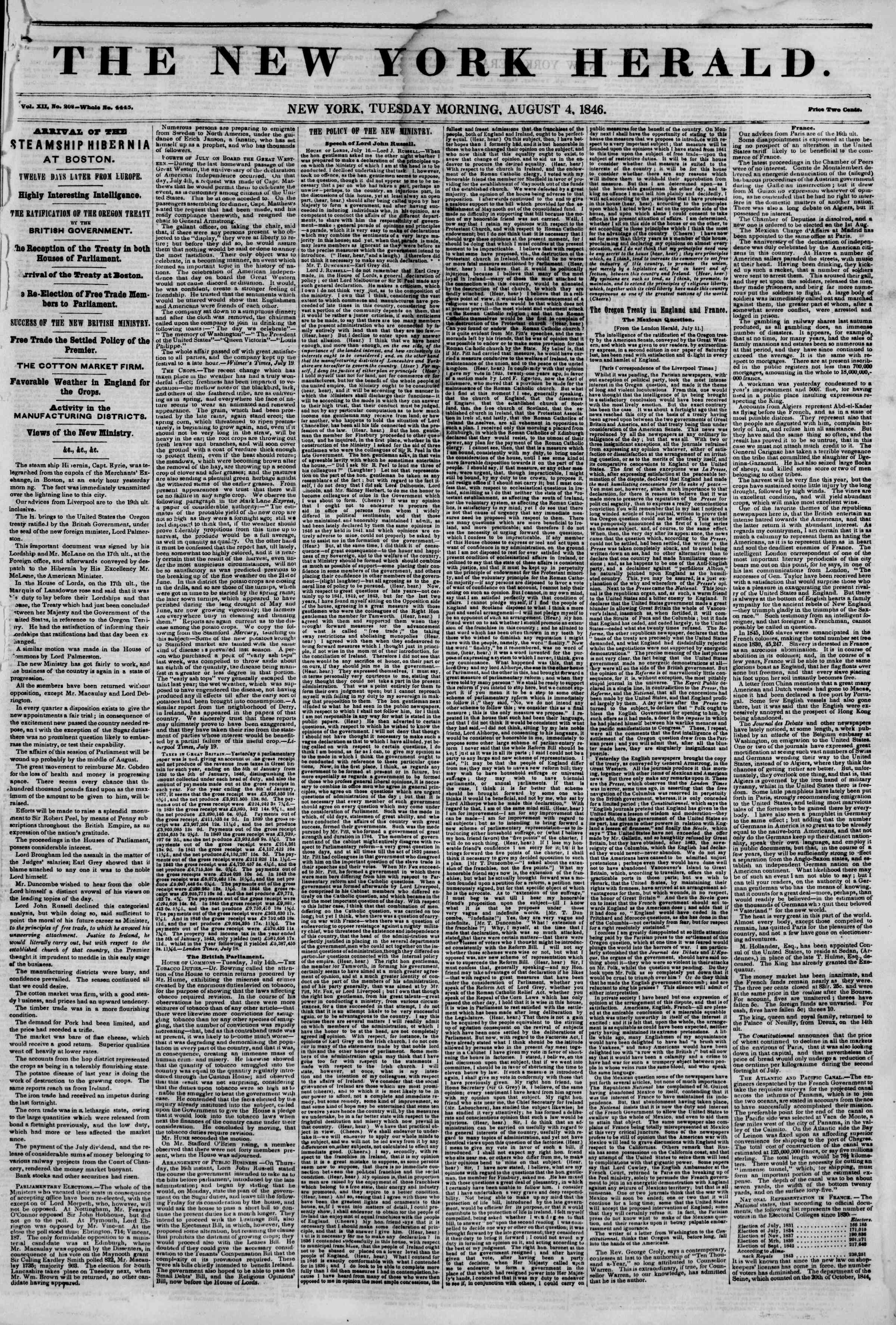 Newspaper of The New York Herald dated August 4, 1846 Page 1
