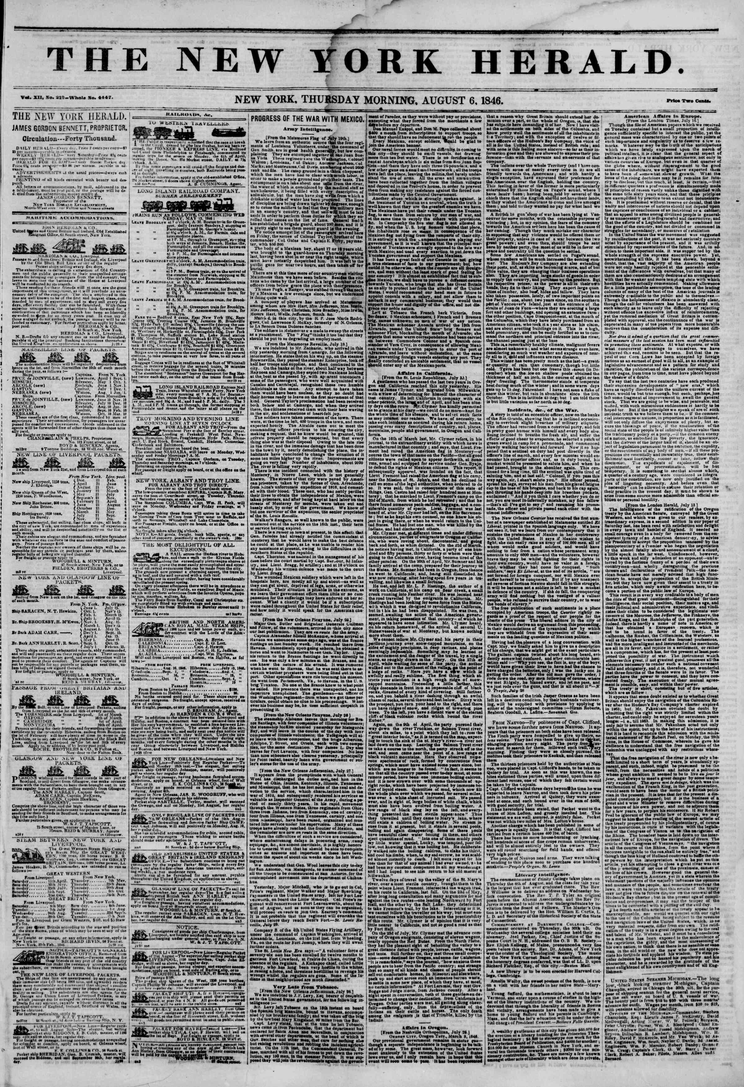Newspaper of The New York Herald dated August 6, 1846 Page 1