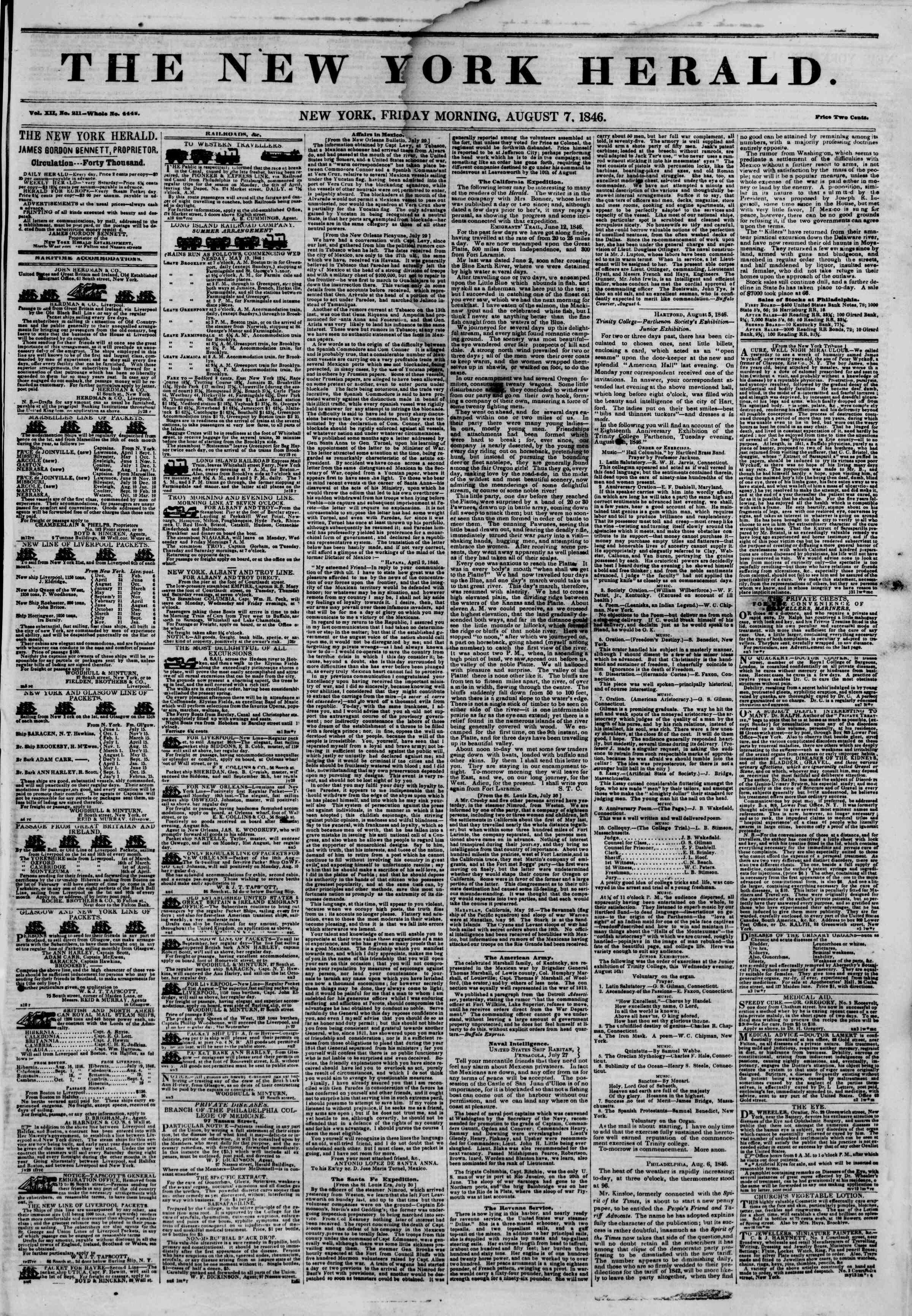 Newspaper of The New York Herald dated August 7, 1846 Page 1