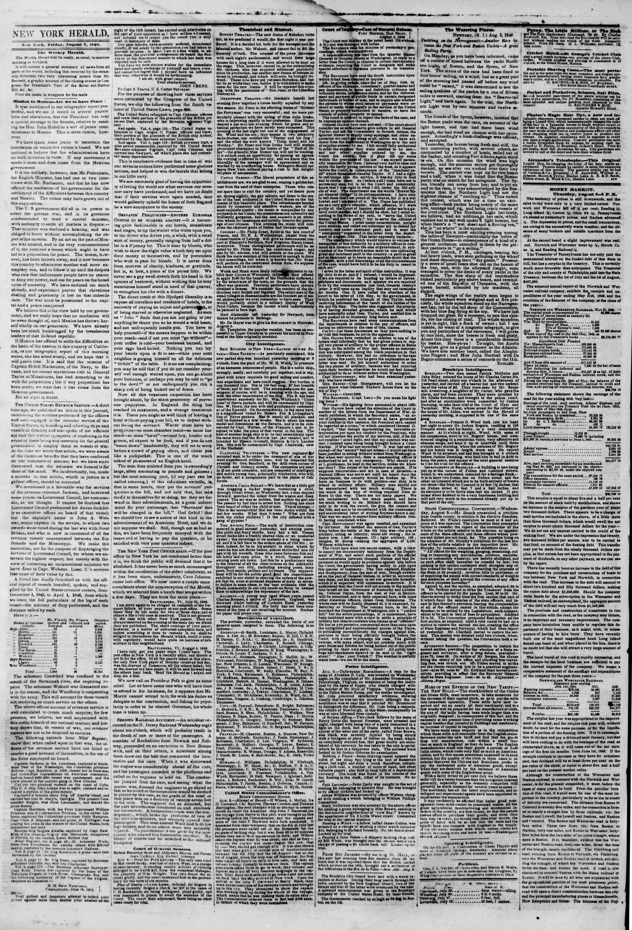 Newspaper of The New York Herald dated August 7, 1846 Page 2