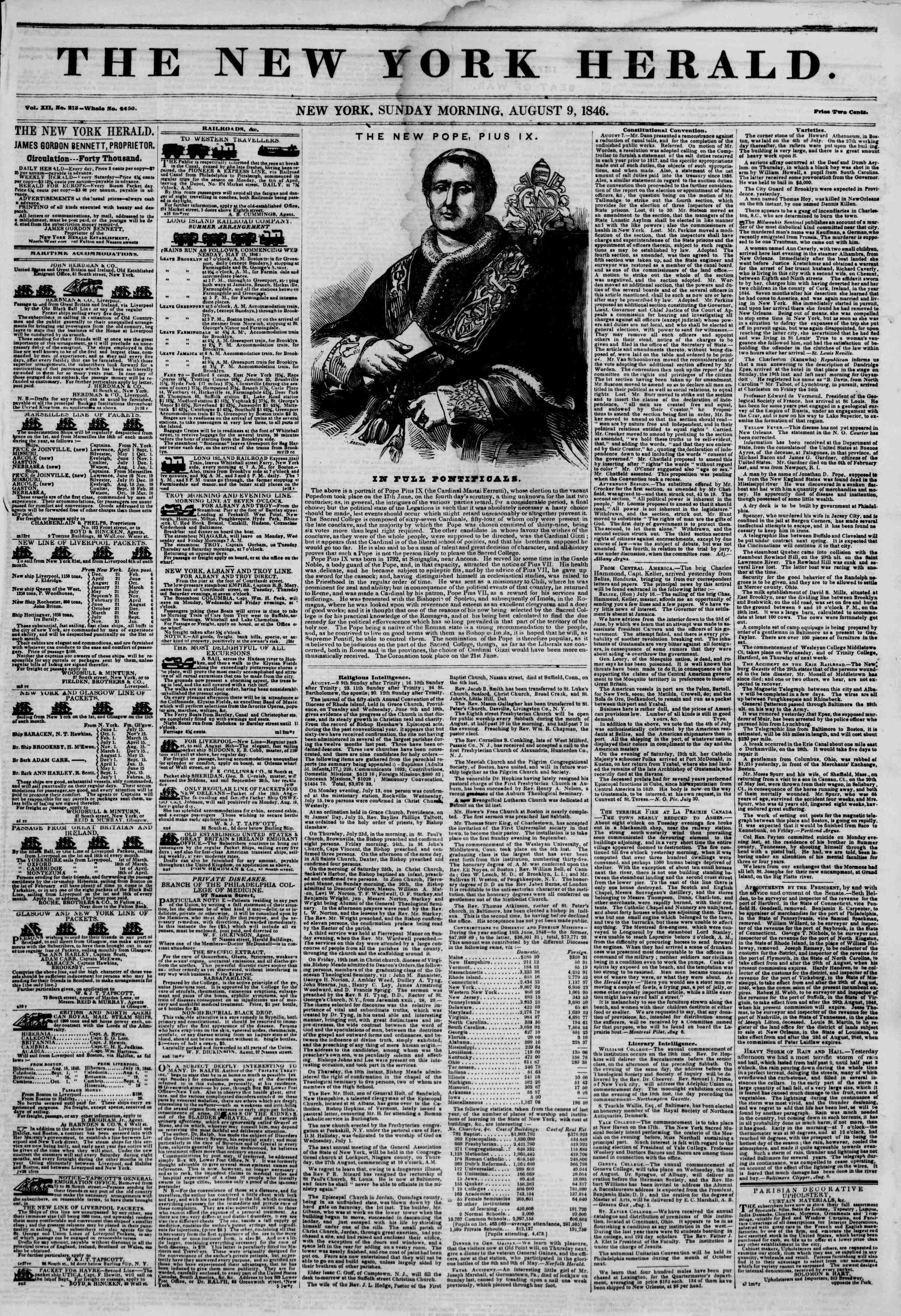 Newspaper of The New York Herald dated August 9, 1846 Page 1