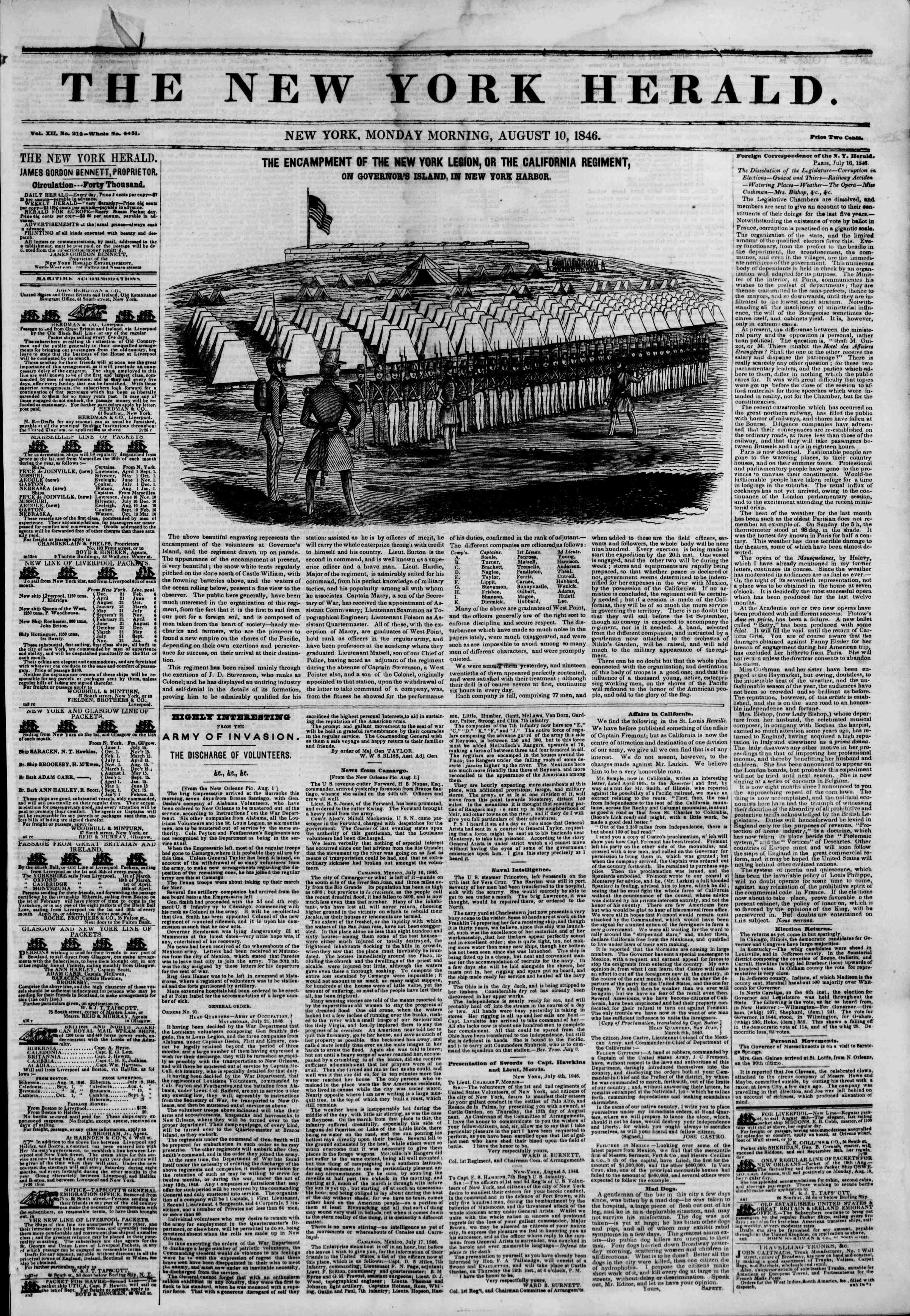 Newspaper of The New York Herald dated August 10, 1846 Page 1
