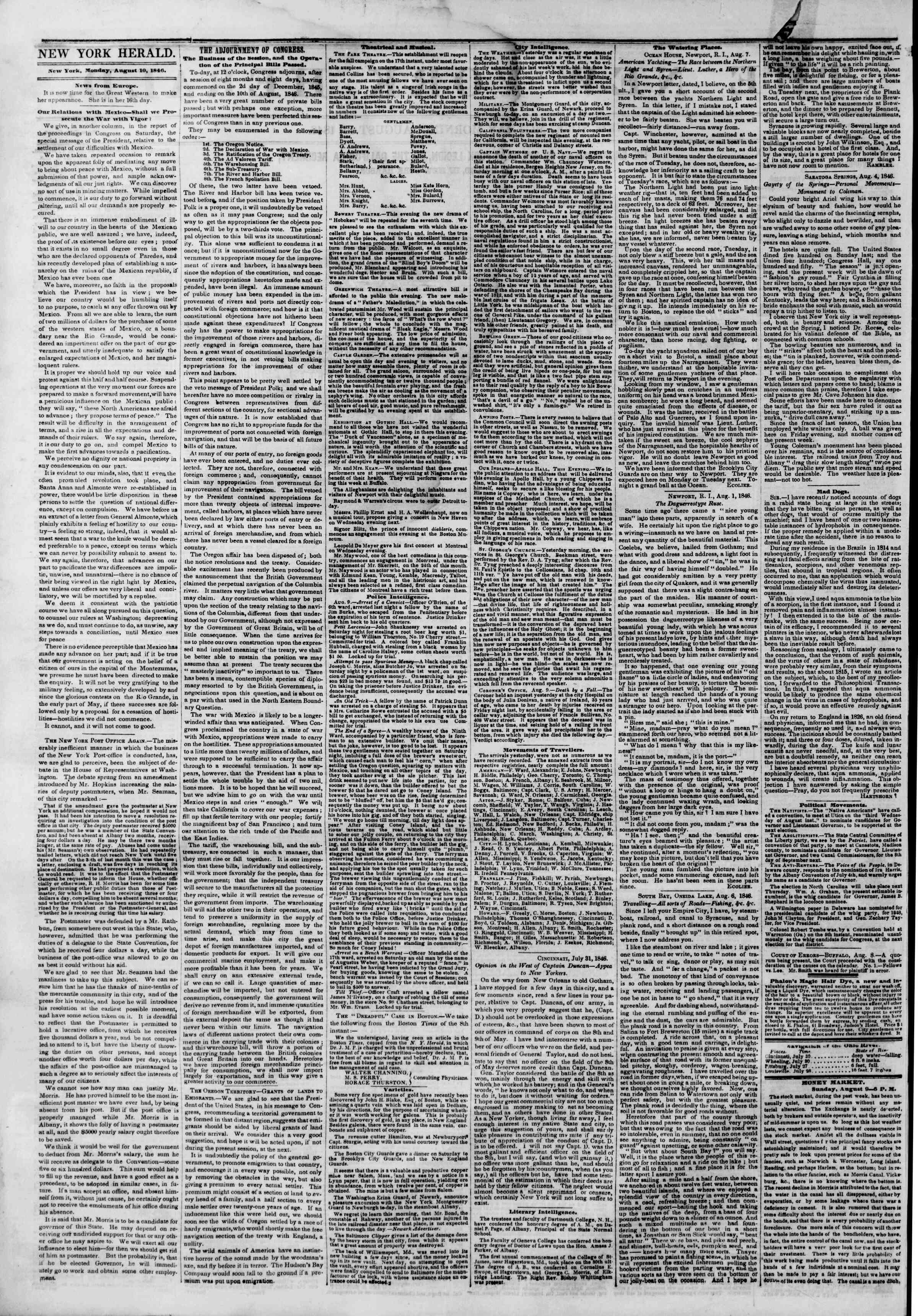 Newspaper of The New York Herald dated August 10, 1846 Page 2