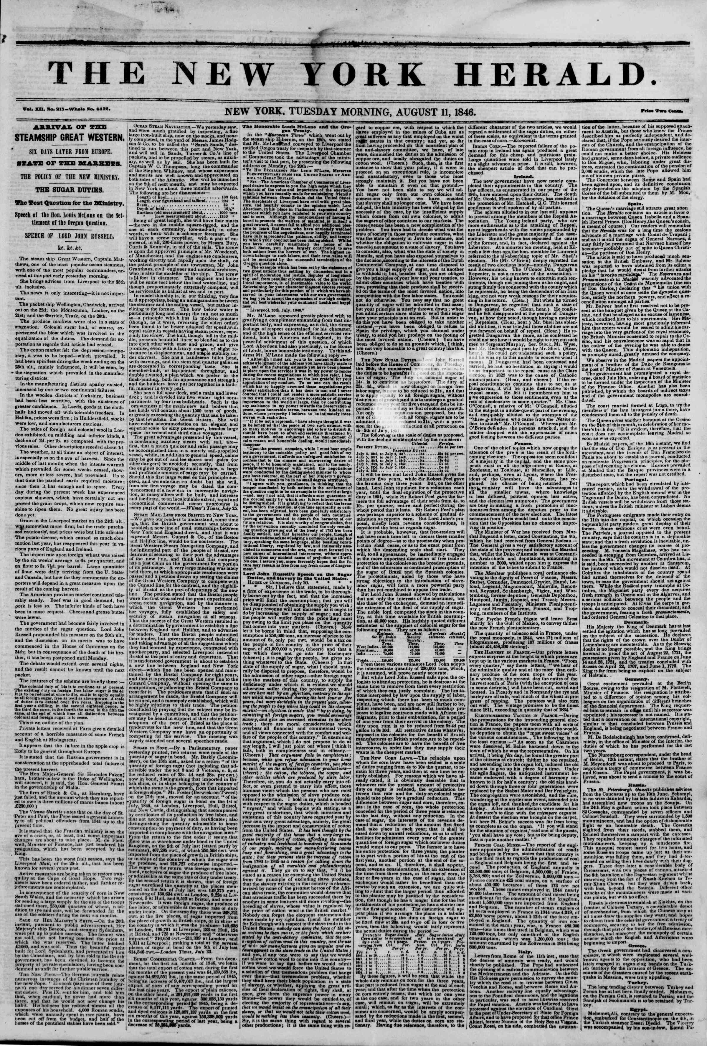 Newspaper of The New York Herald dated August 11, 1846 Page 1