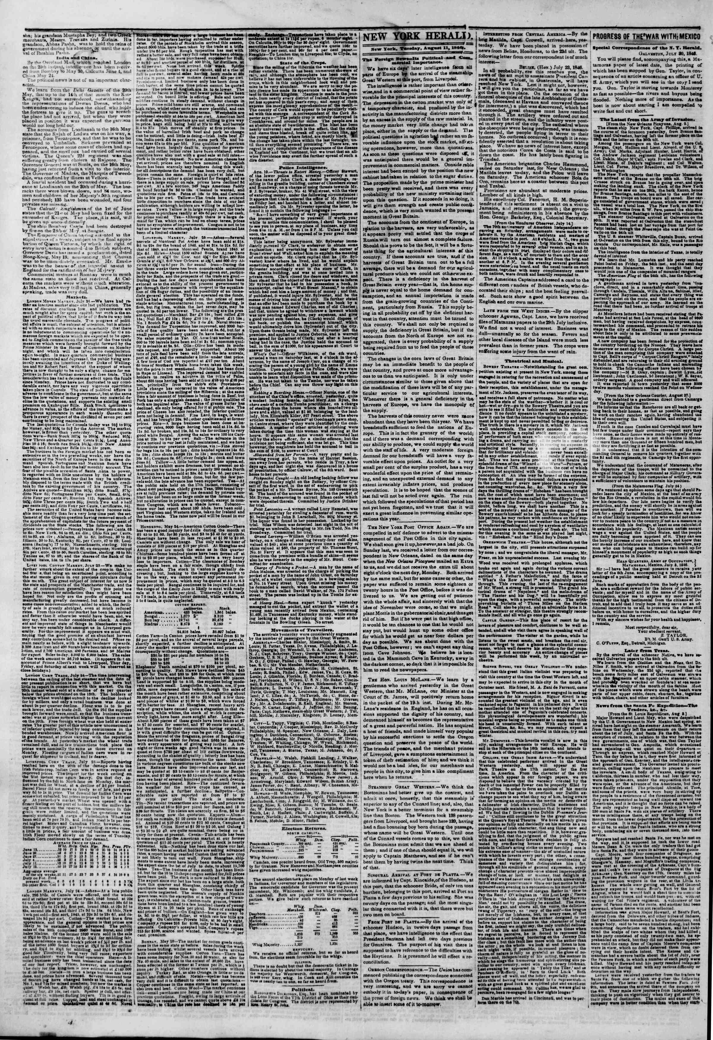 Newspaper of The New York Herald dated August 11, 1846 Page 2
