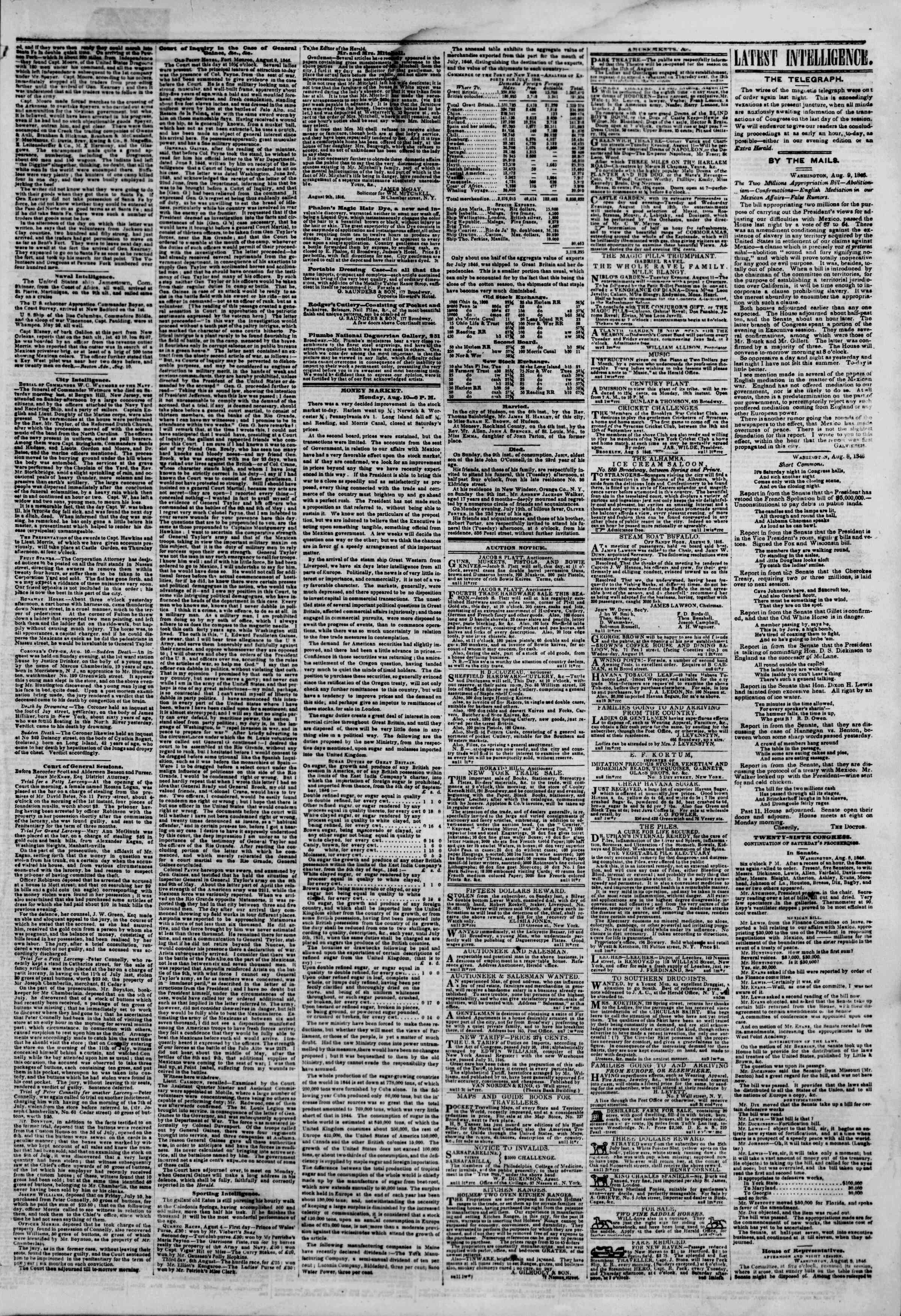 Newspaper of The New York Herald dated August 11, 1846 Page 3