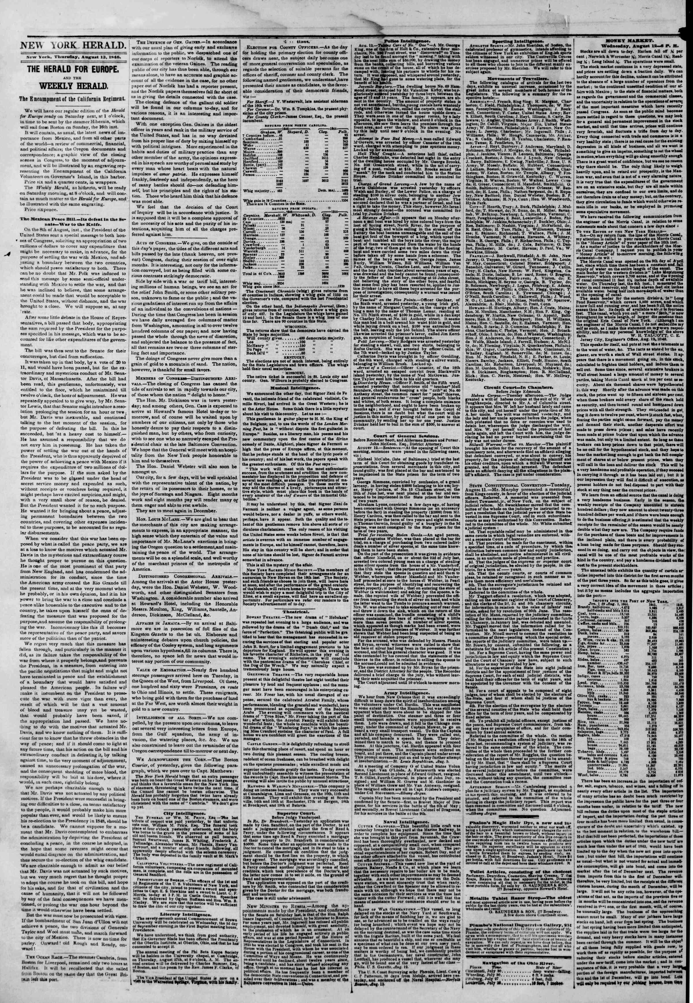 Newspaper of The New York Herald dated August 13, 1846 Page 2