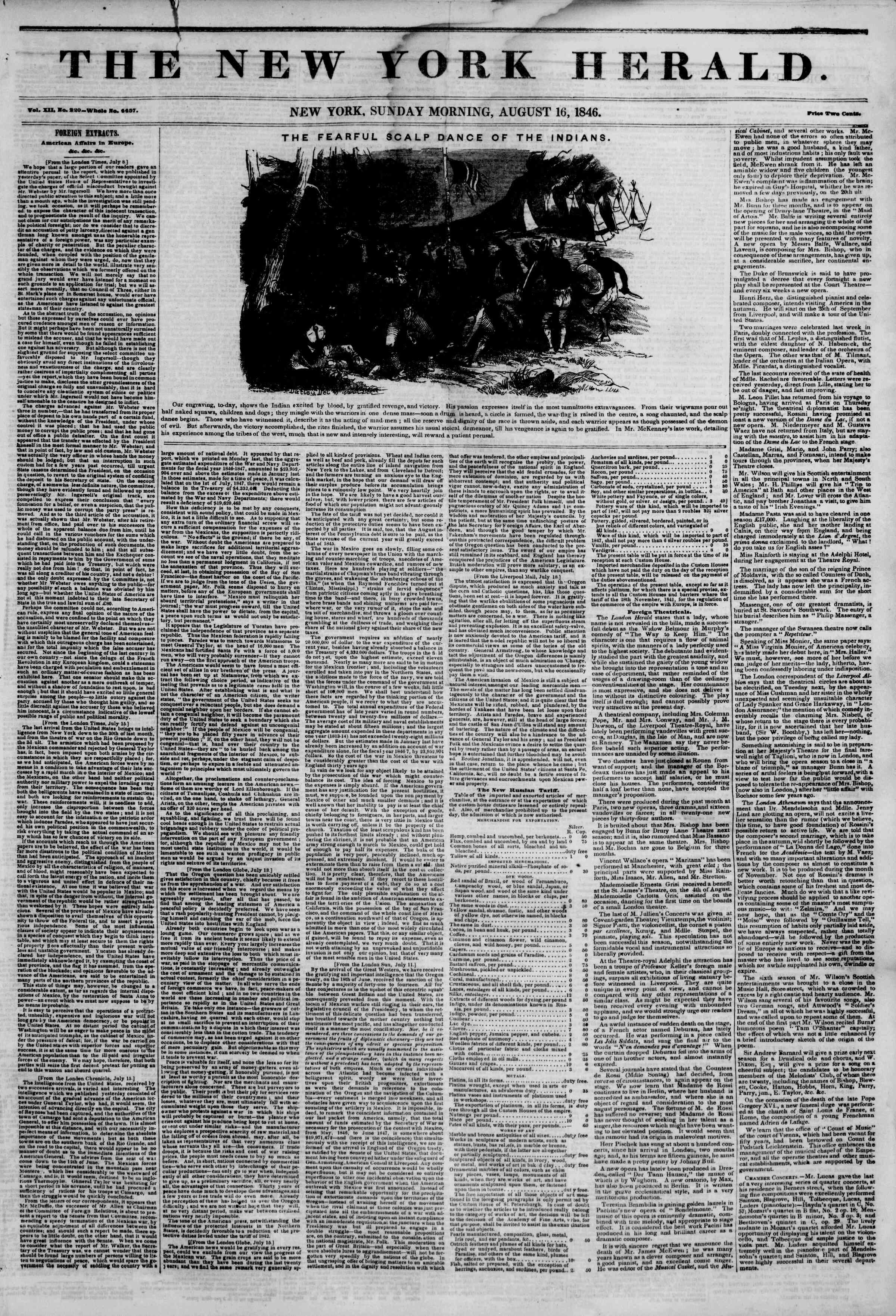 Newspaper of The New York Herald dated August 16, 1846 Page 1
